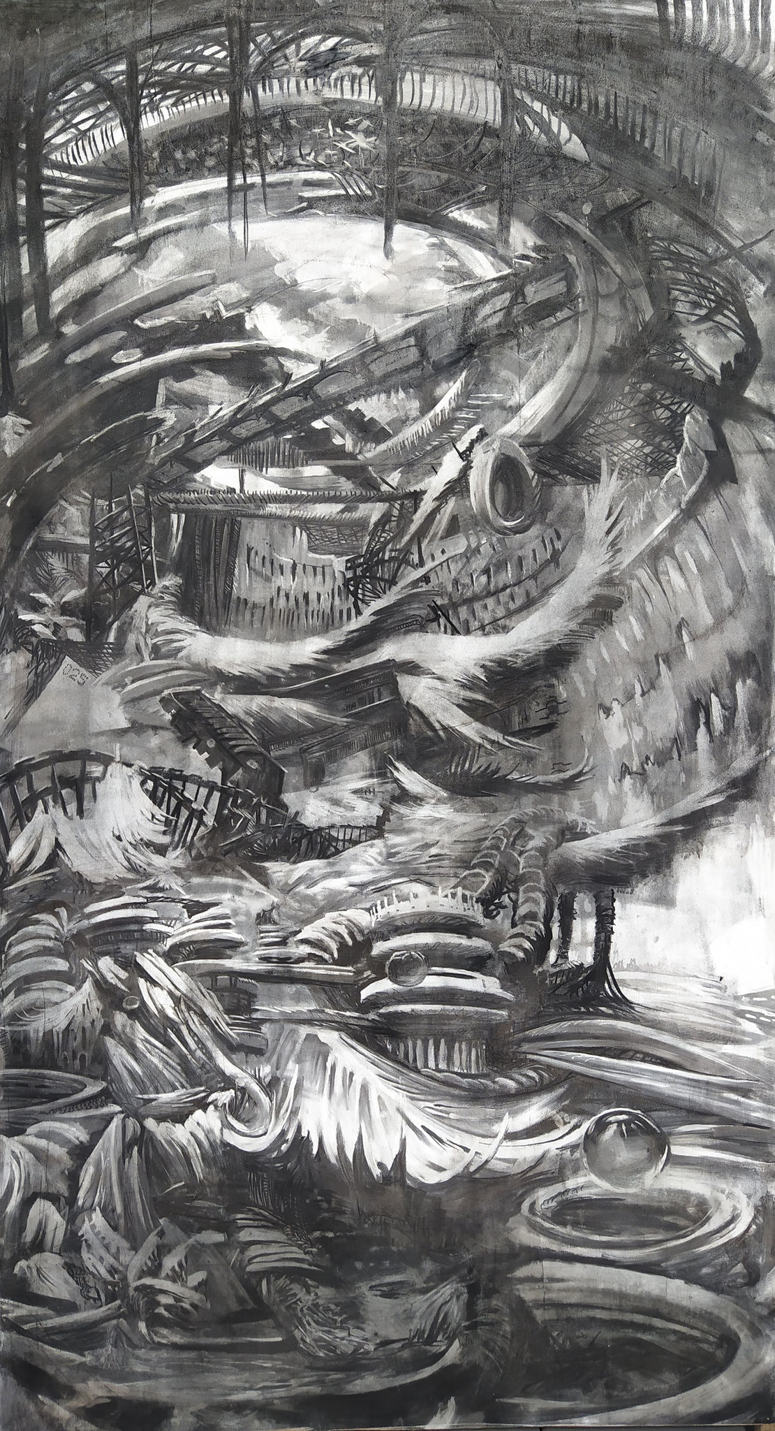 2017 - Sprucie - Charcoal and chalk on MDF board - 120 x 250 - SOLD