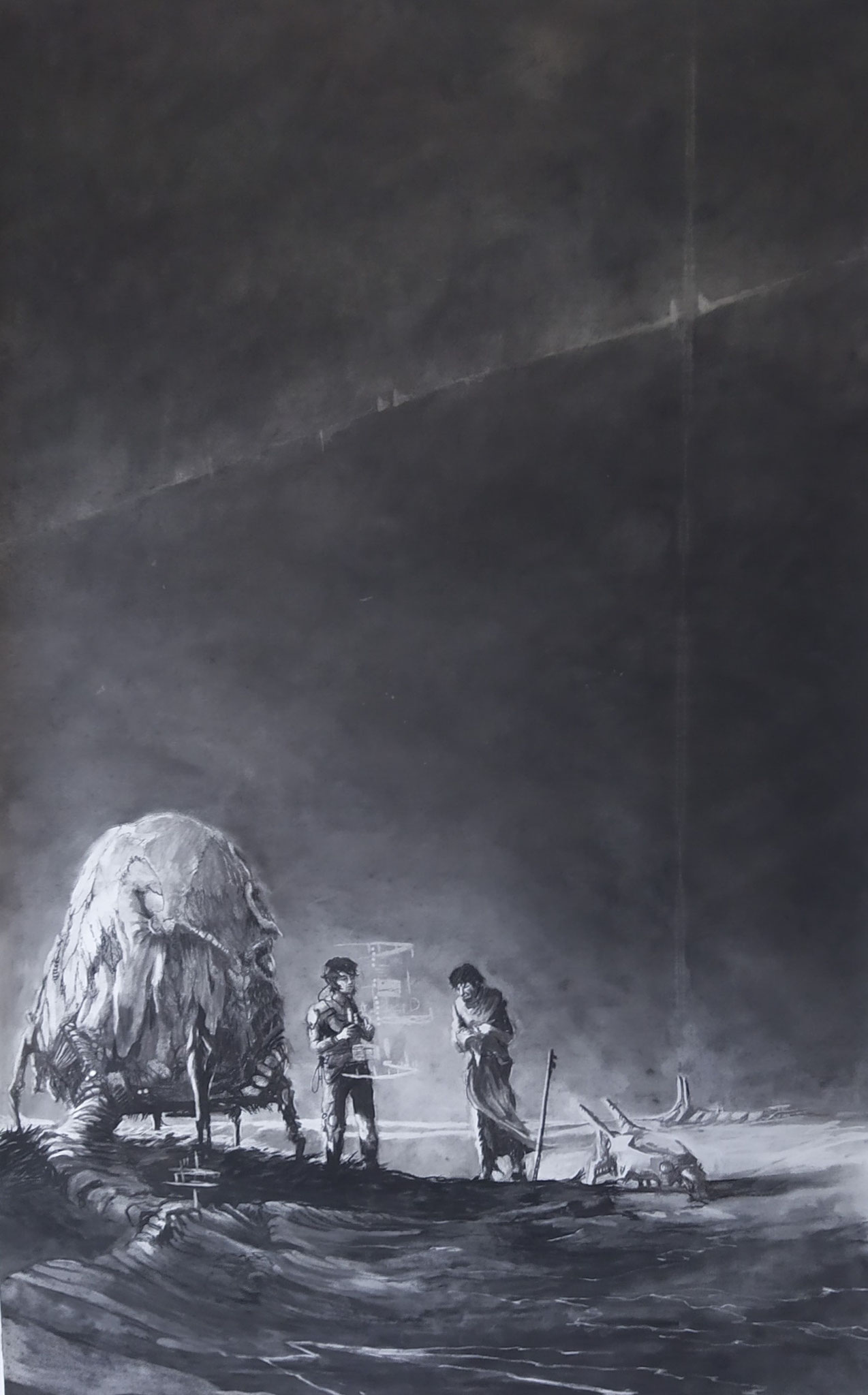 Mommy's building us a house (140 x 60 cm; charcoal on paper; fixative) AVAILABLE