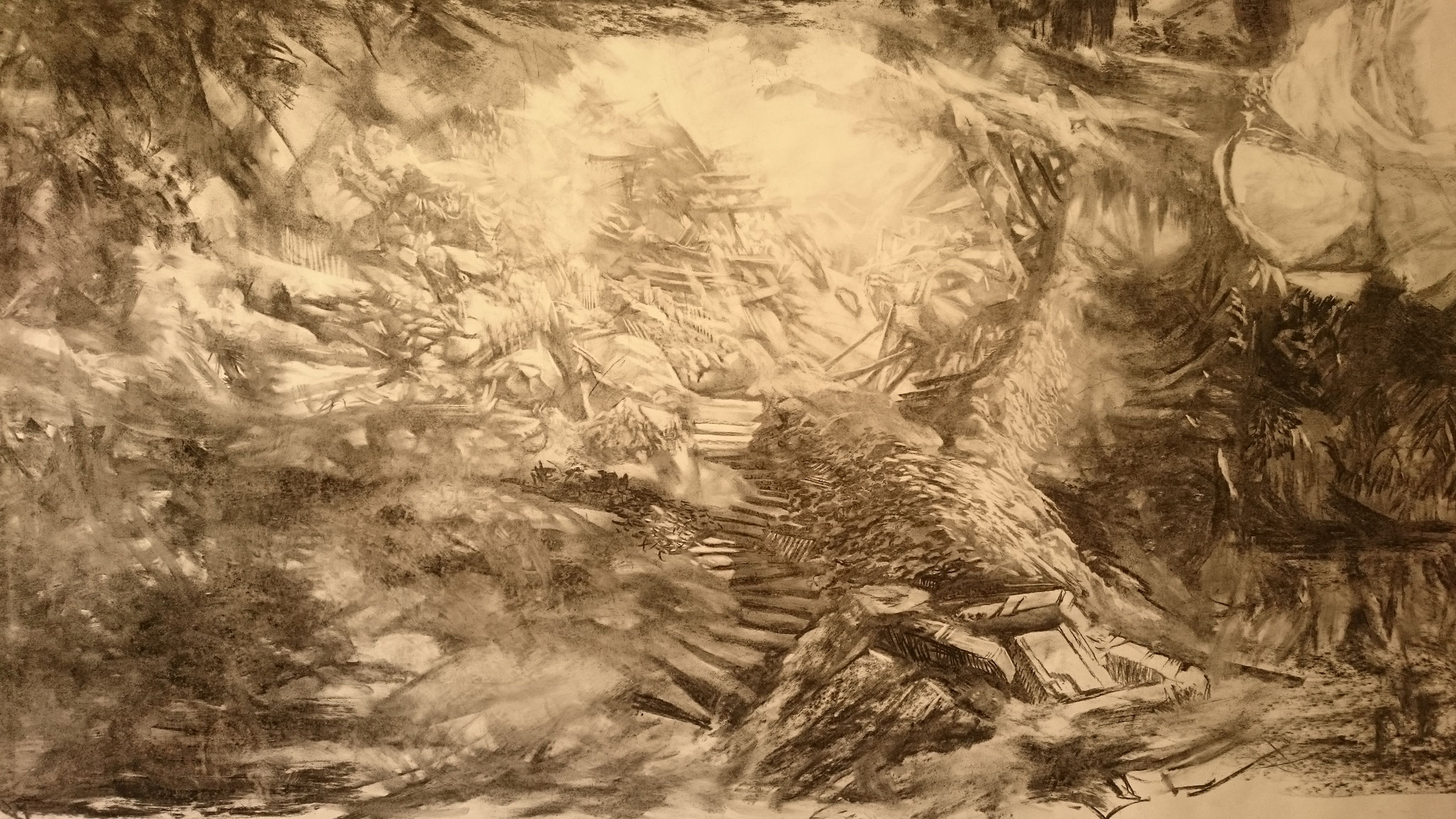 The Cave (180 x 100 cm; charcoal on paper; fixative) AVAILABLE