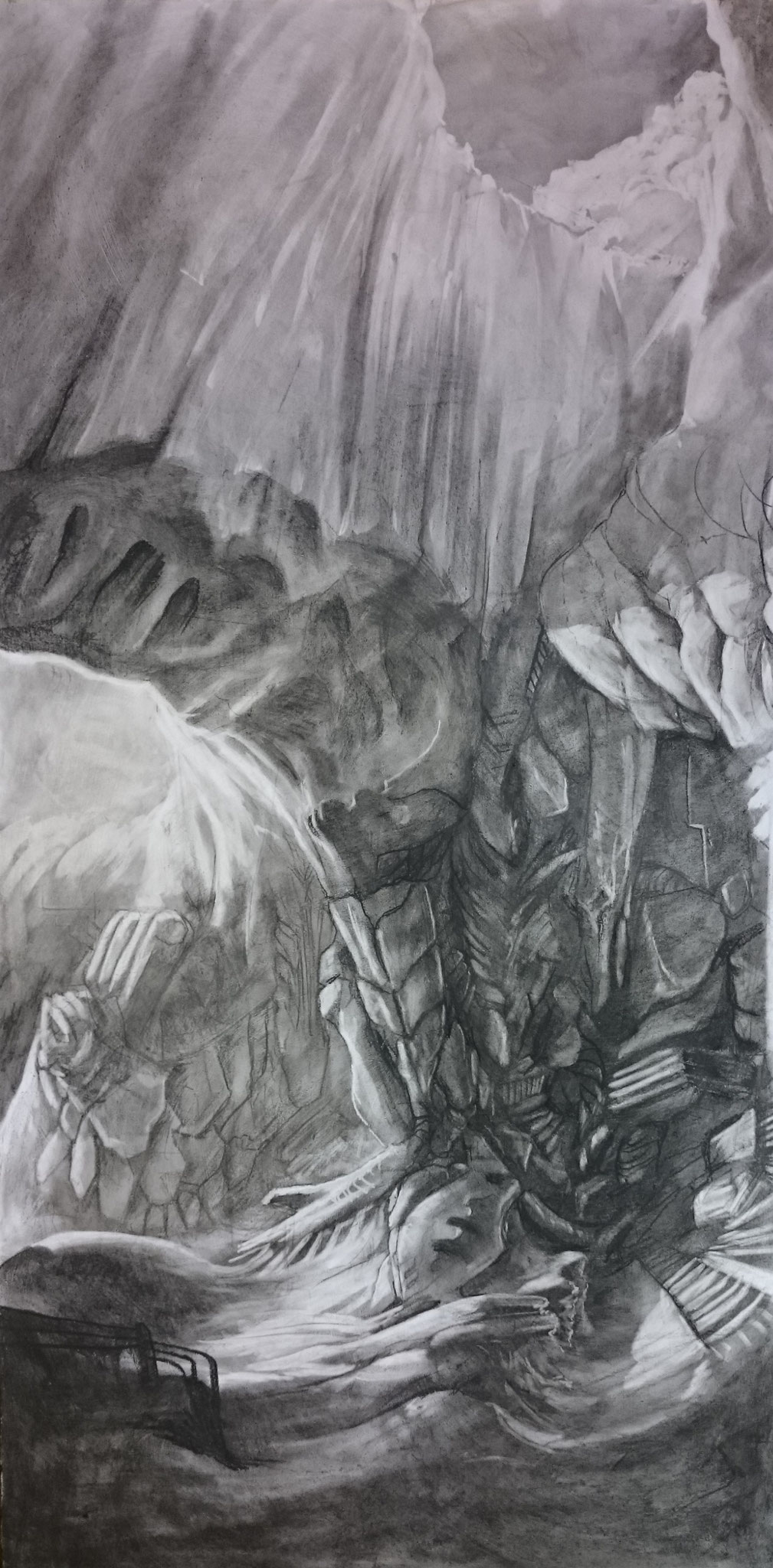 Knot (60 x 110 cm; charcoal on mdf; fixative) TRAVELING