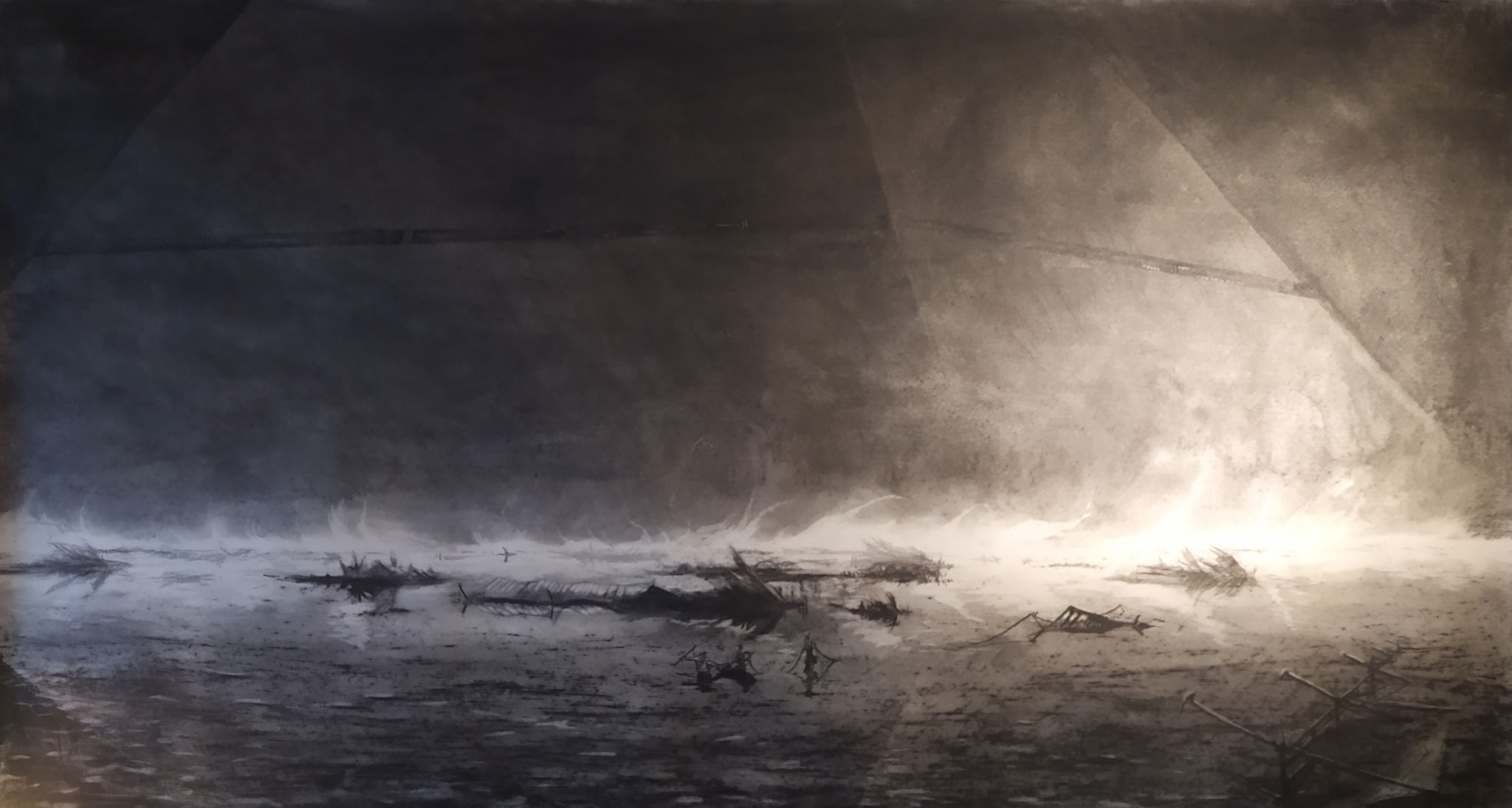 2019 - Swamp  - Charcoal and chalk on paper 170 x 100 cm - SOLD
