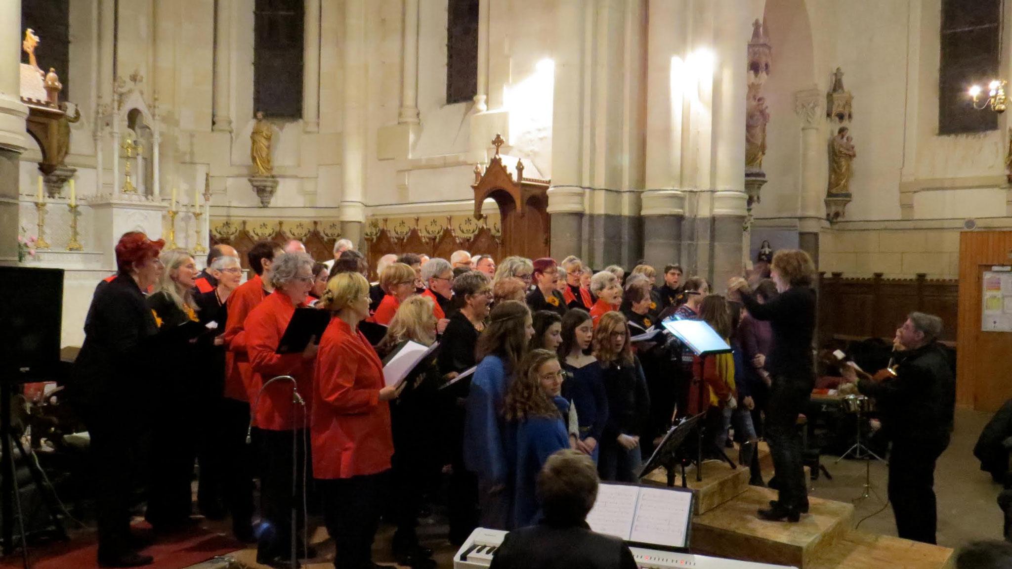 Concert à Olby des enfants de Prélude avec les chorales d'Olby et de La Bourboule