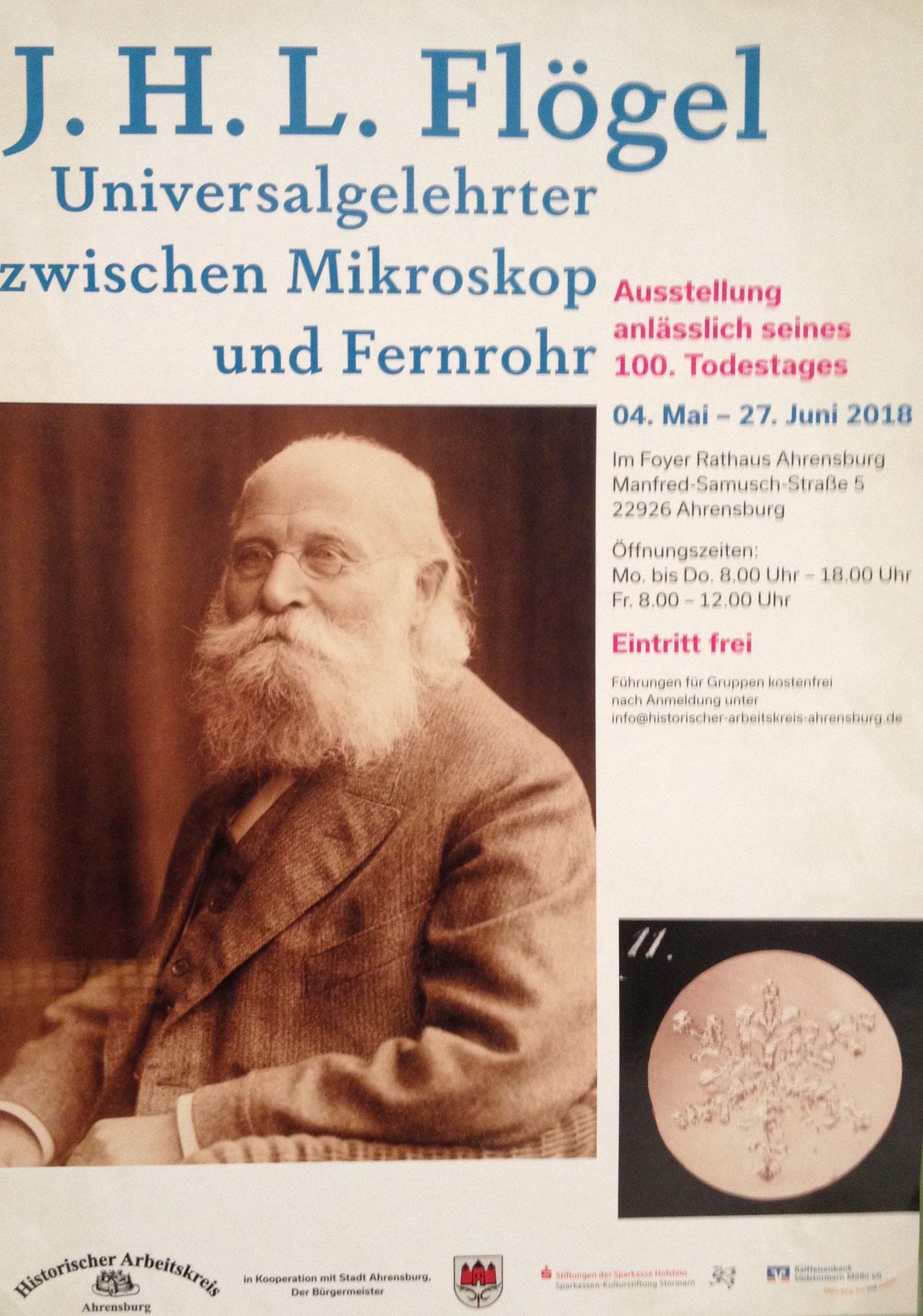 Plakat zur Ausstellung von Dr. J. H. L. Flögel 2018