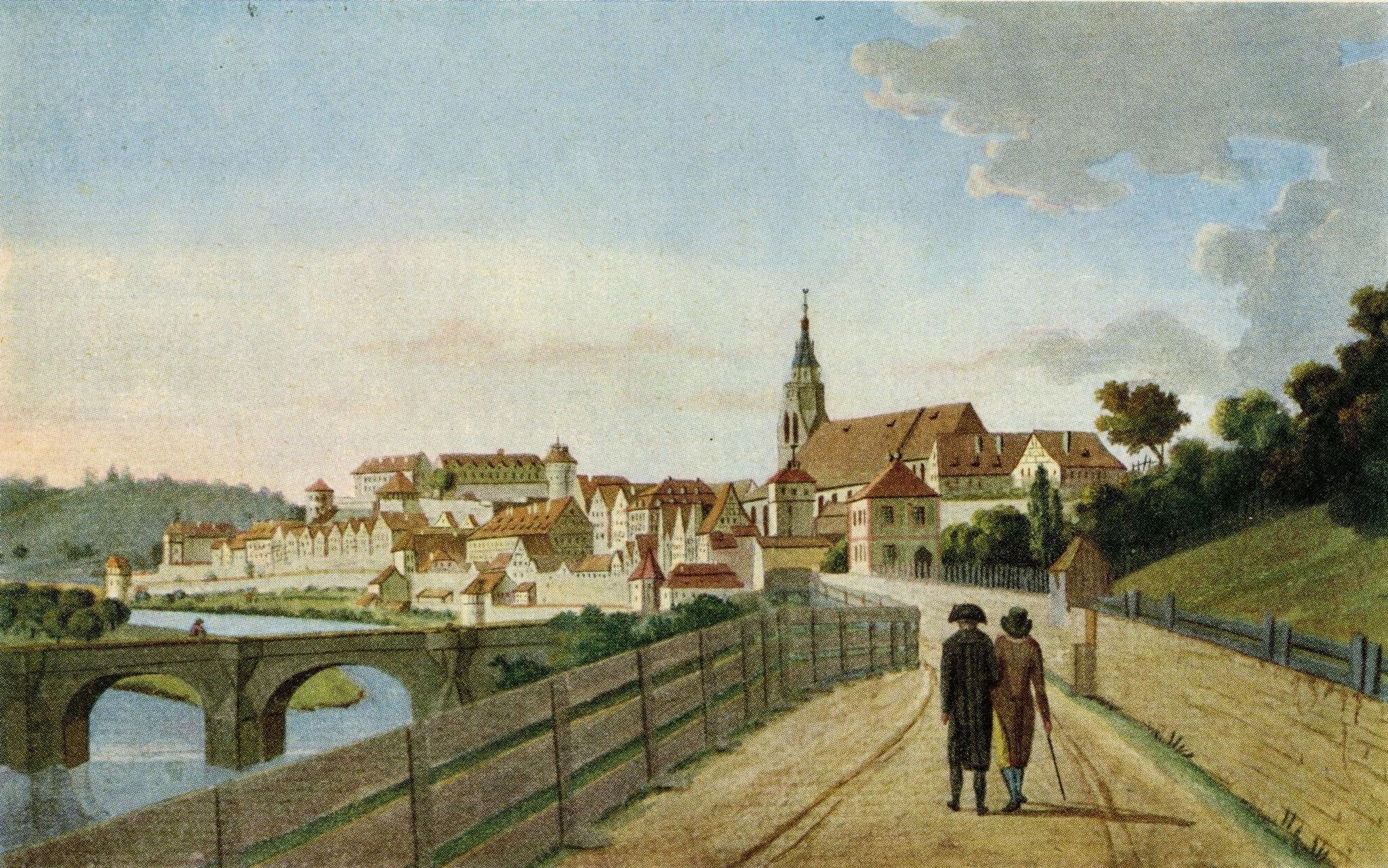 """Blick auf Tübingen aus der Gartenstraße um das Jahr 1790 (Johann Christian Partzschefeldt: """"Tübingen um 1790"""", Reproduktion). Bild: Stadtmuseum Tübingen, Inv.-Nr. 03294, © Stadtmuseum Tübingen."""