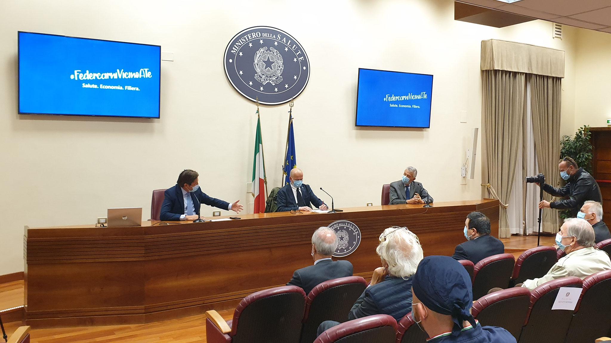 Il Viceministro Sen. Prof. Pierpaolo Sileri e il Presidente nazionale Federcarni Maurizio Arosio