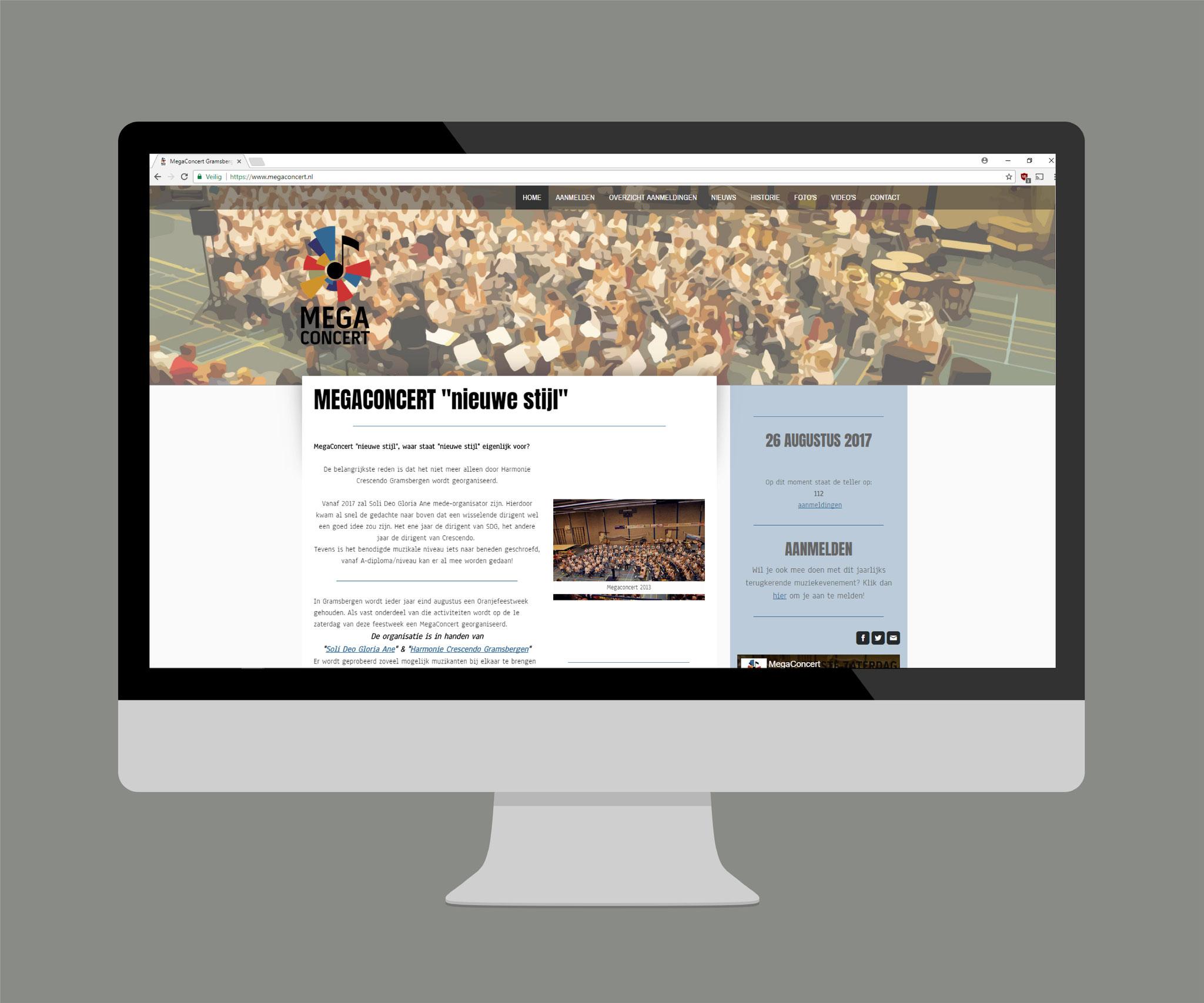 Compleet webdesign & dagelijks beheer www.megaconcert.nl