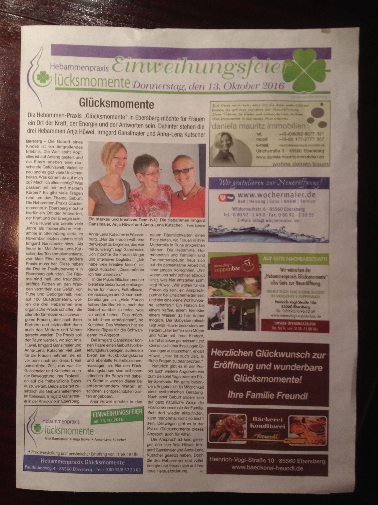 Offizielle Mitteilung in der Zeitung