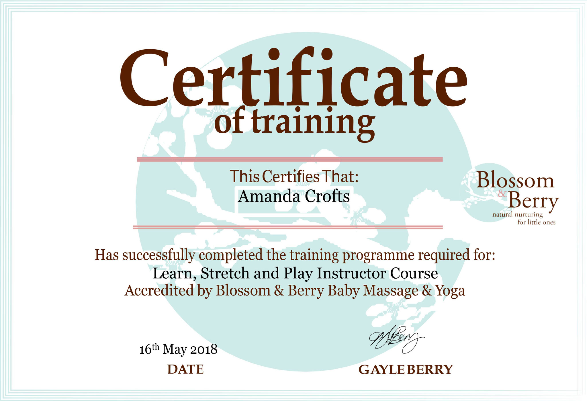 Blossom & Berry Learn Stretch & Play Certificate