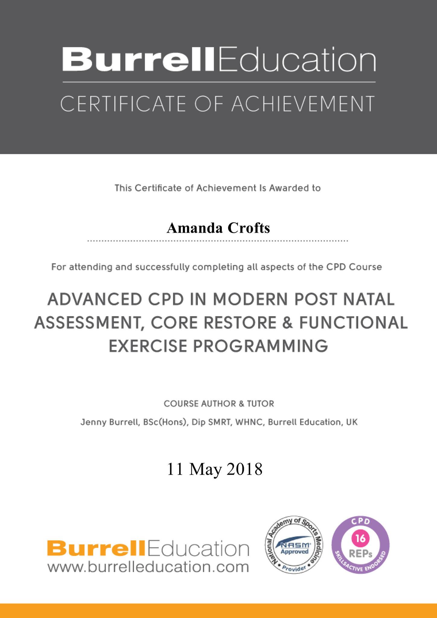 Burrell Education Modern Postnatal Core Restore Certificate