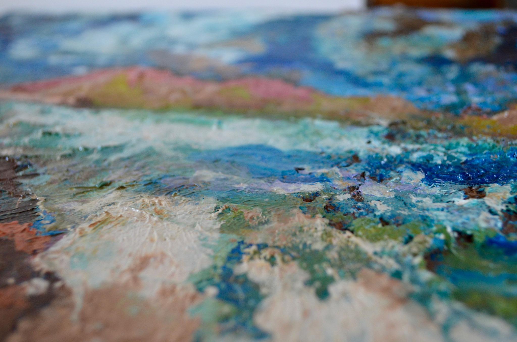 """détail  - Peinture-palette / série """"plage du Lourtuais"""""""