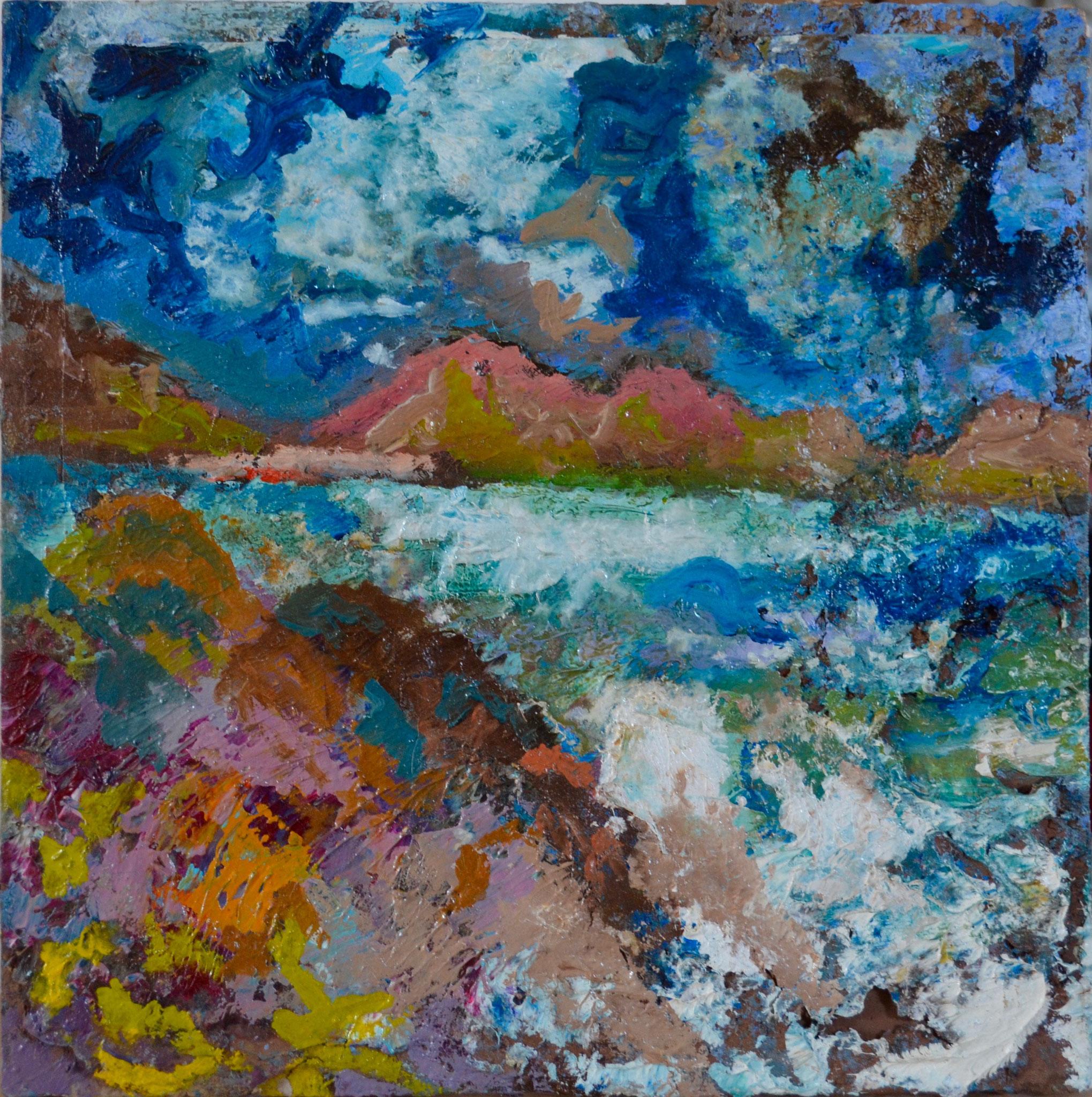 """Peinture-palette / série """"plage du Lourtuais"""" - bois 30x30"""