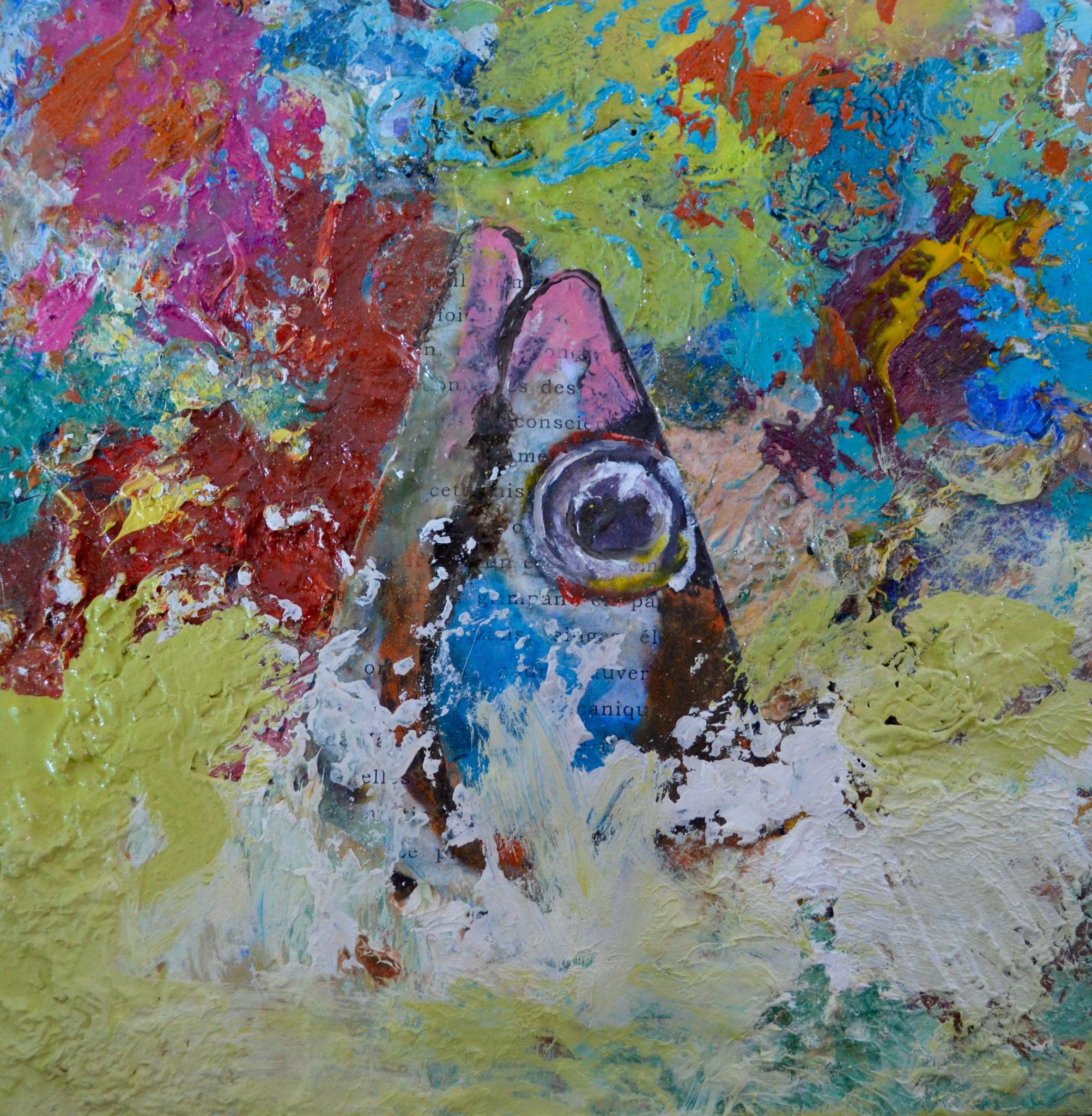 """Peinture-palette / série """"apnée de poisson"""" - bois 25 x 25"""