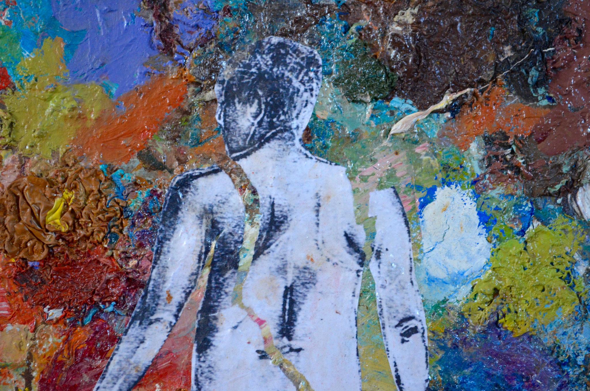 """détail - Peinture-palette / série """"homme de dos (dans paysage de peinture)"""""""