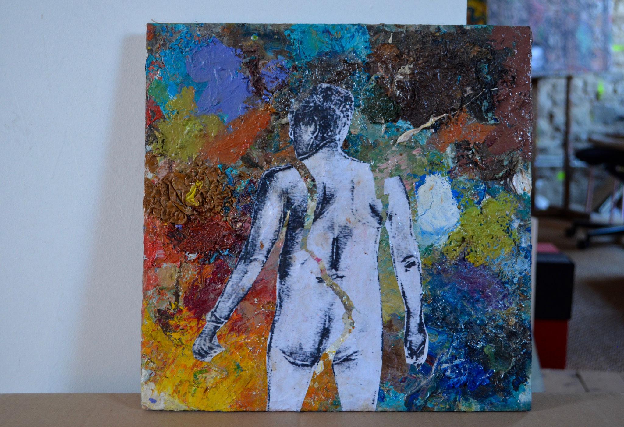 """Peinture-palette / série """"homme de dos (dans paysage de peinture)"""" - bois 33x33"""