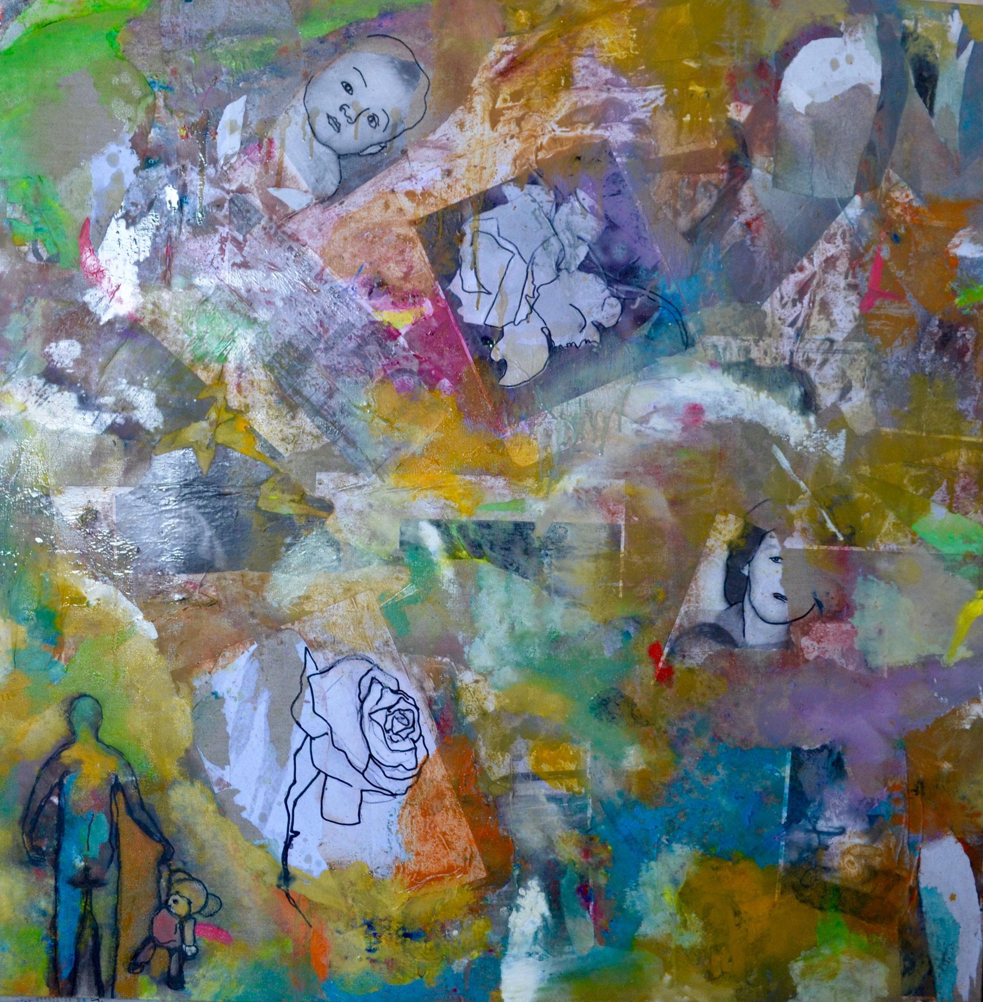 39 - Toile/canvas - 100x100 cm - Chaos intime, mis en couleurs