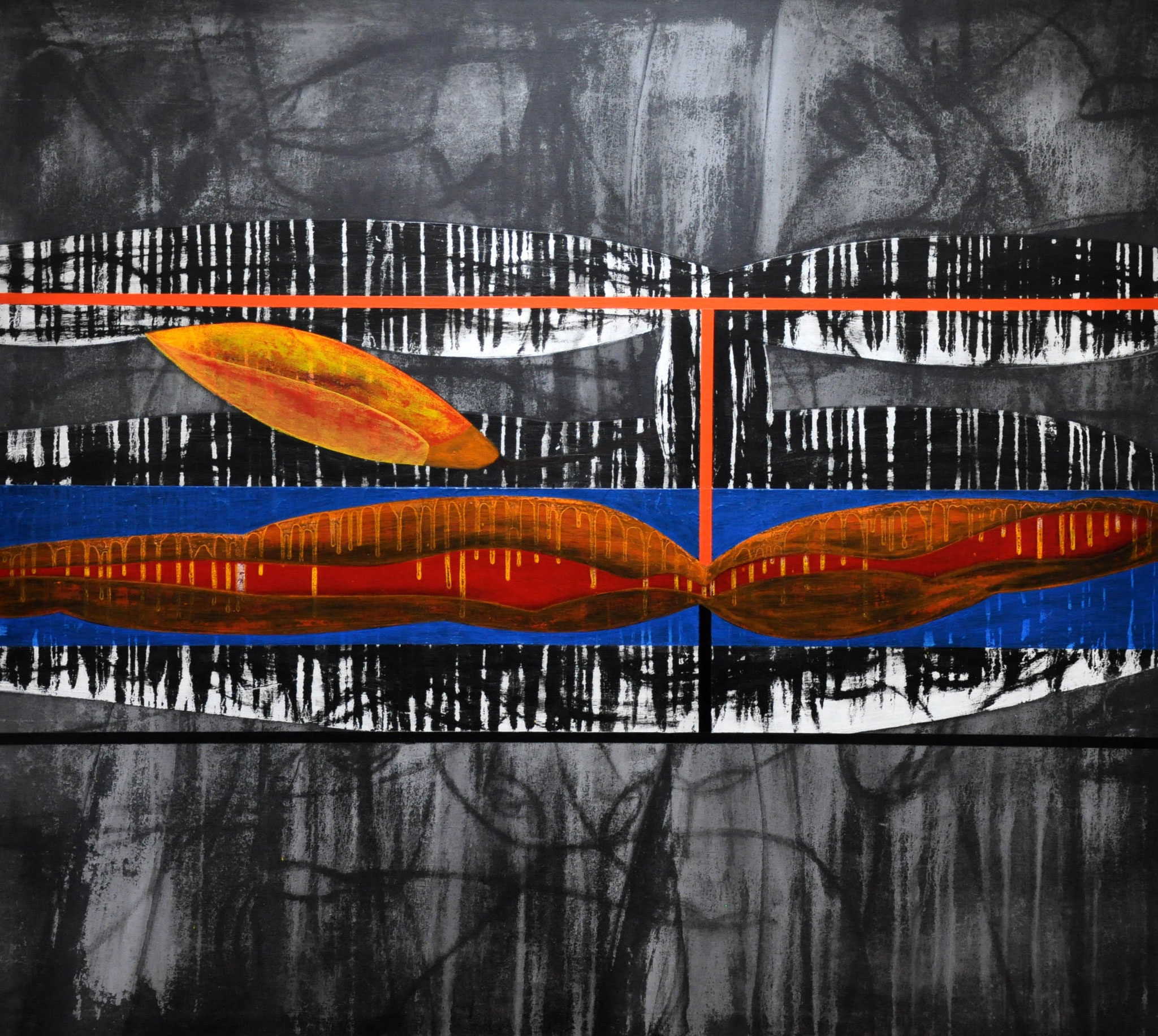 Im Land und in den Malen der Körper  und quer in blauer, schiefer Gerinnung  wohnt das saugende Schöpfen der Fluten  2006, 160 x 140 cm,  acrylic on canvas