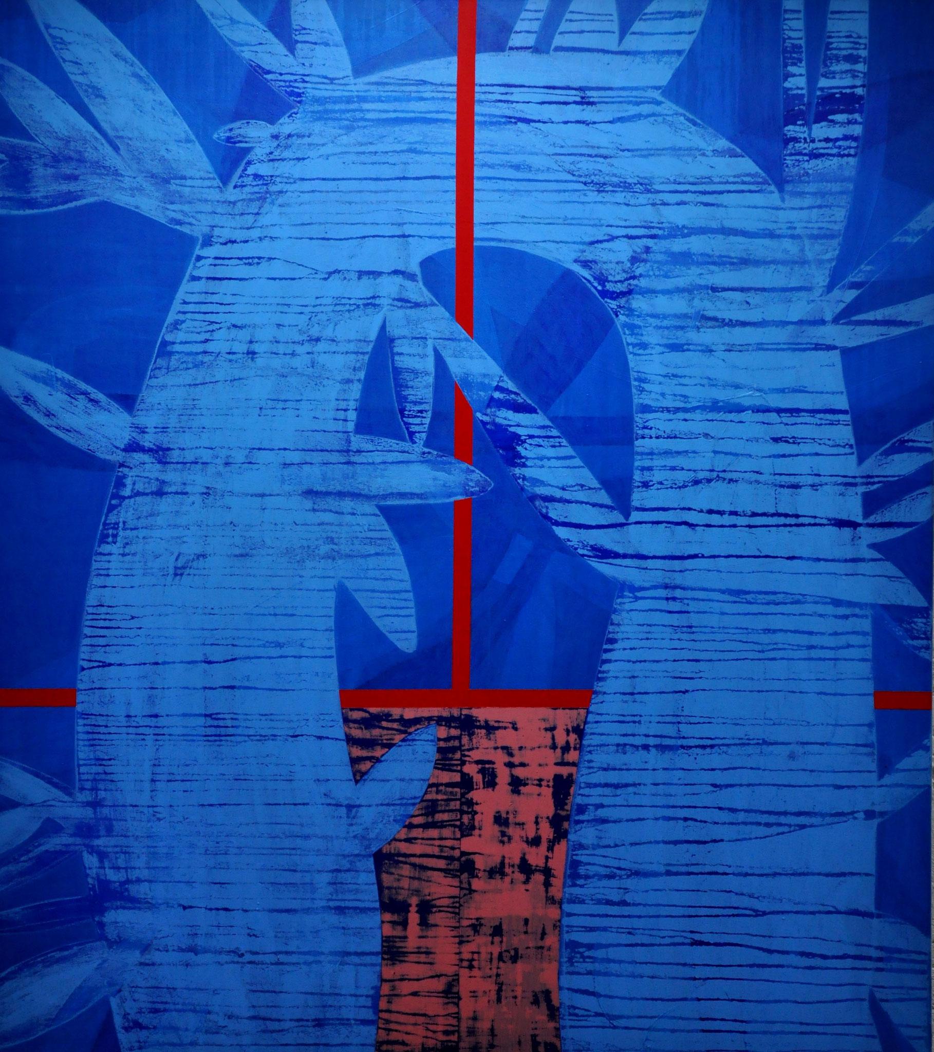 Das rastende Fieberkleid spannen,  greifen über den stillen, knotigen Teig,  hinein in den Stolz, der weint  2007, 140 x 160 cm,  acrylic on canvas