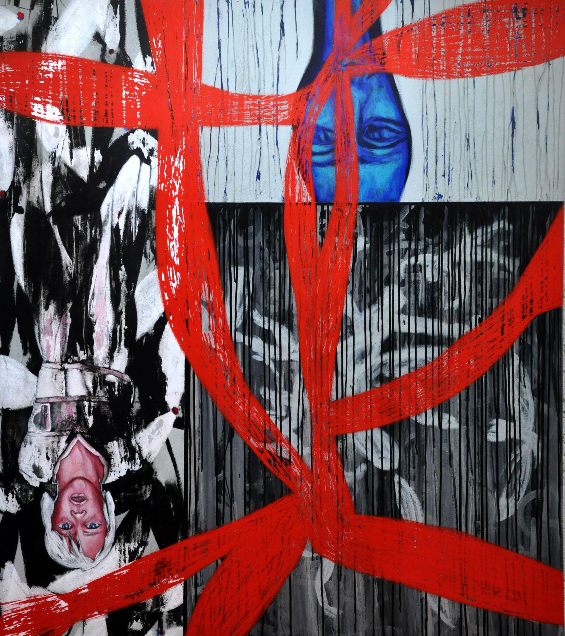 Perlen Lichtrippen, Umwege des Absprungs, ein Haus, ein Glück, die Wildnis   2009, 140 x 160 cm,  acrylic on canvas