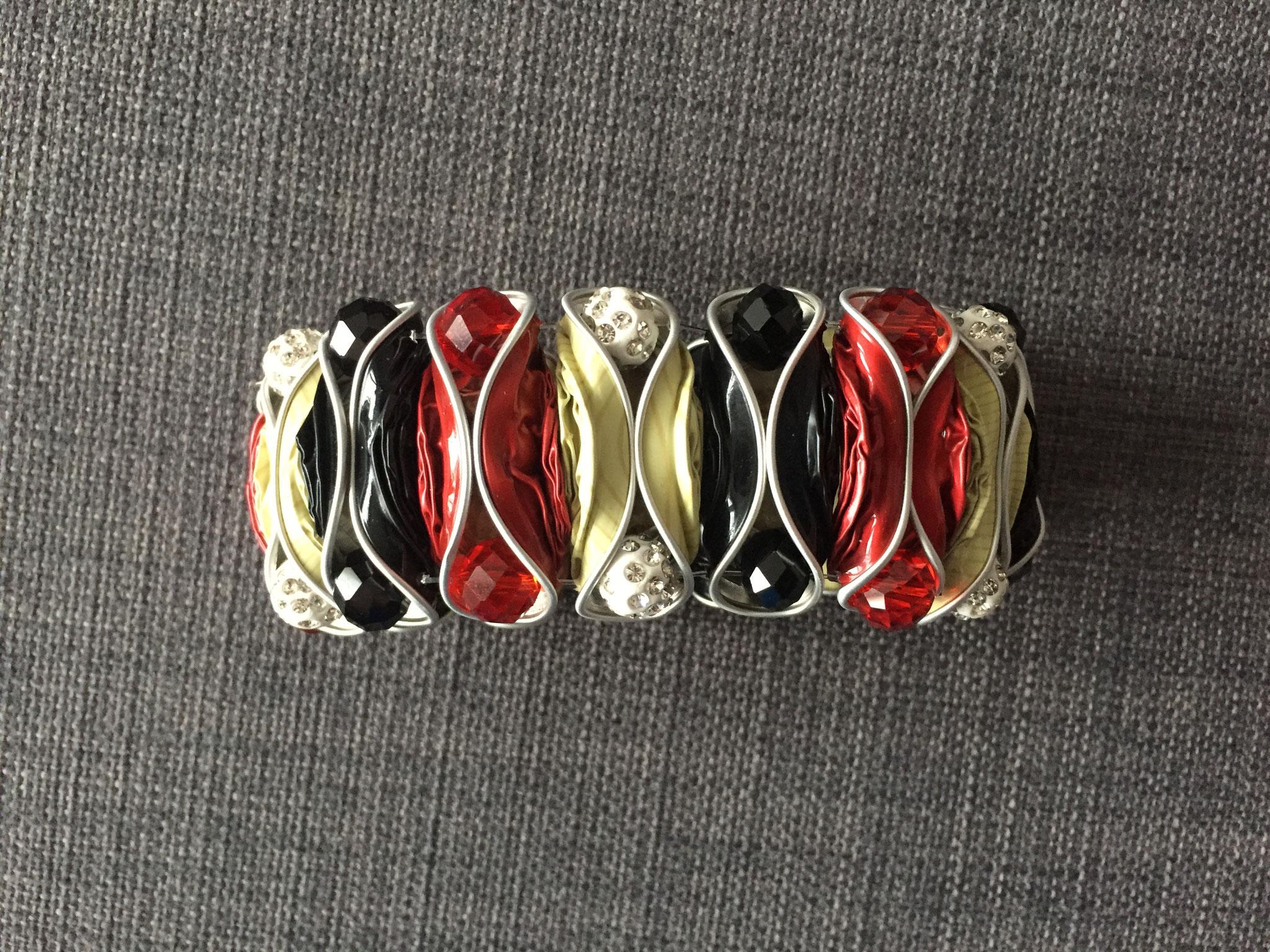 Breites Armband (rot/schwarz/vanille)