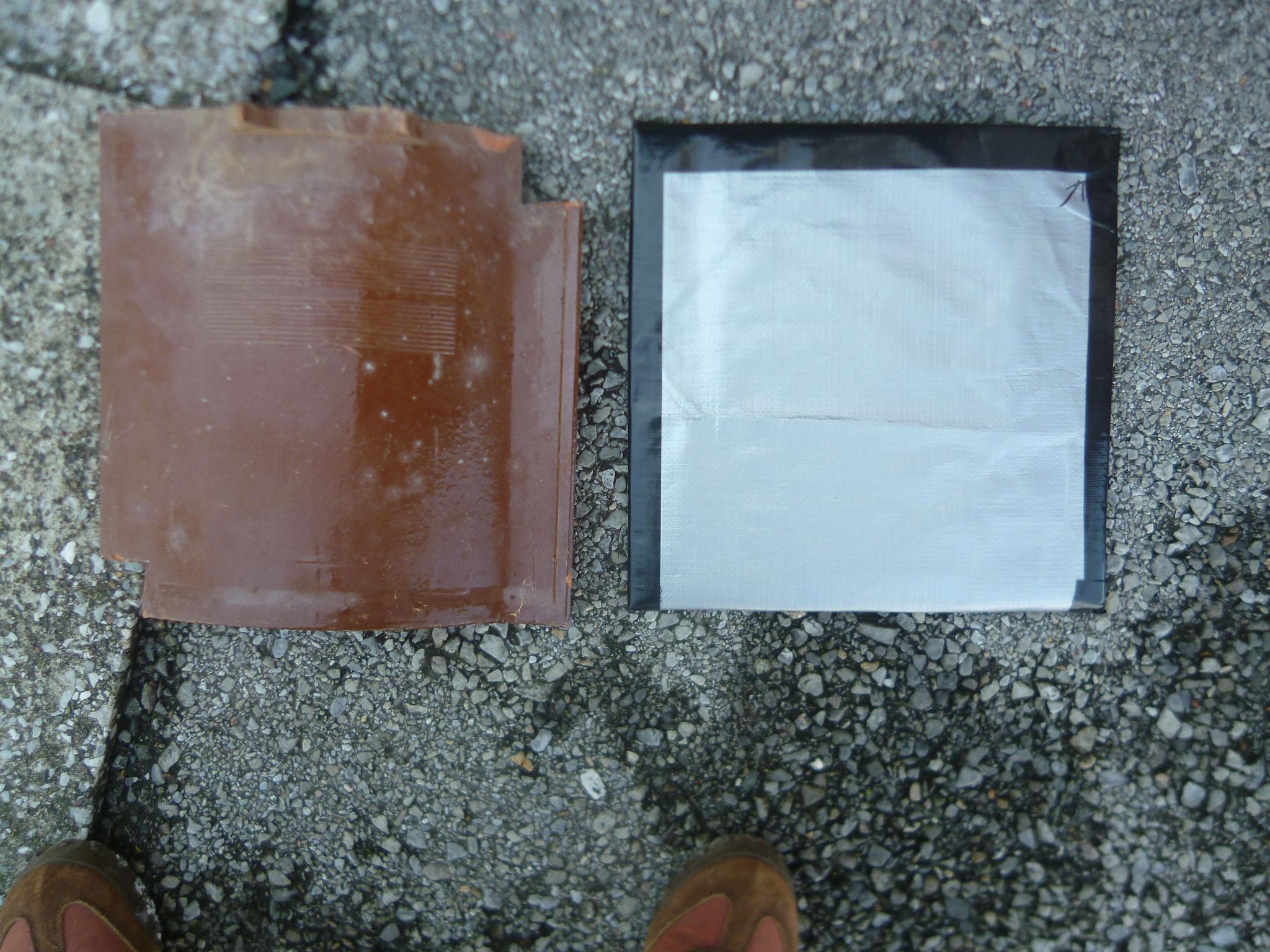 アシスト瓦。中身は30センチのダンボ―ル。←角に3センチの切れ込みがある。自作の瓦の代用品