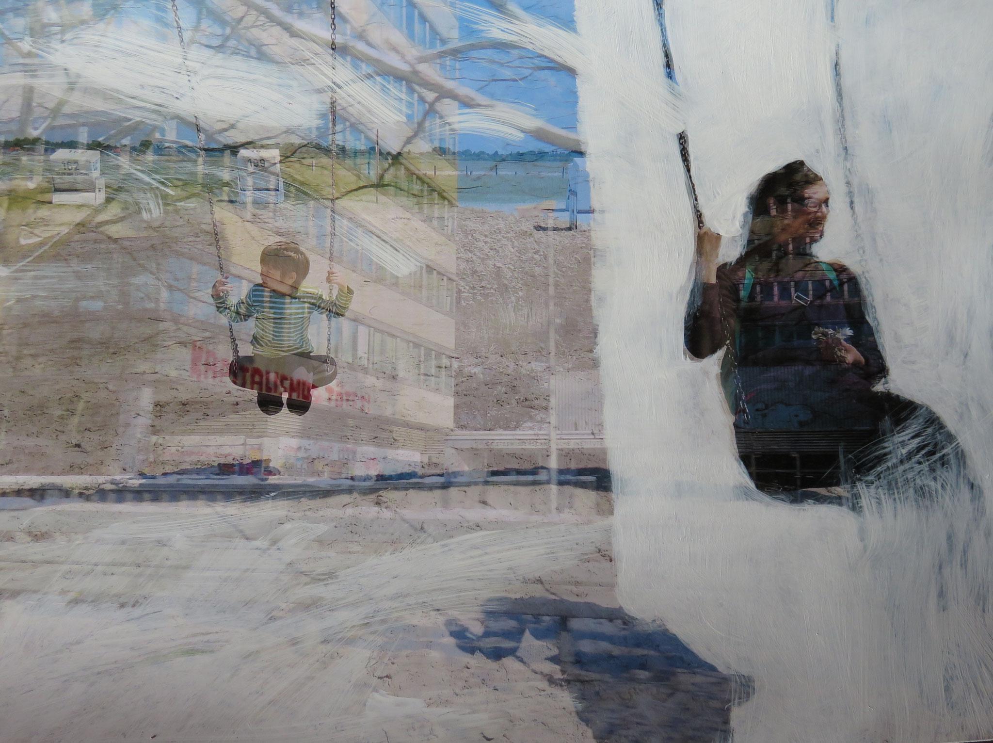 """Back forward"", digital geschichtete Fotografie, Acrylfarbe auf Foto, Ausstellung ""Fundamental Ephemeris"""