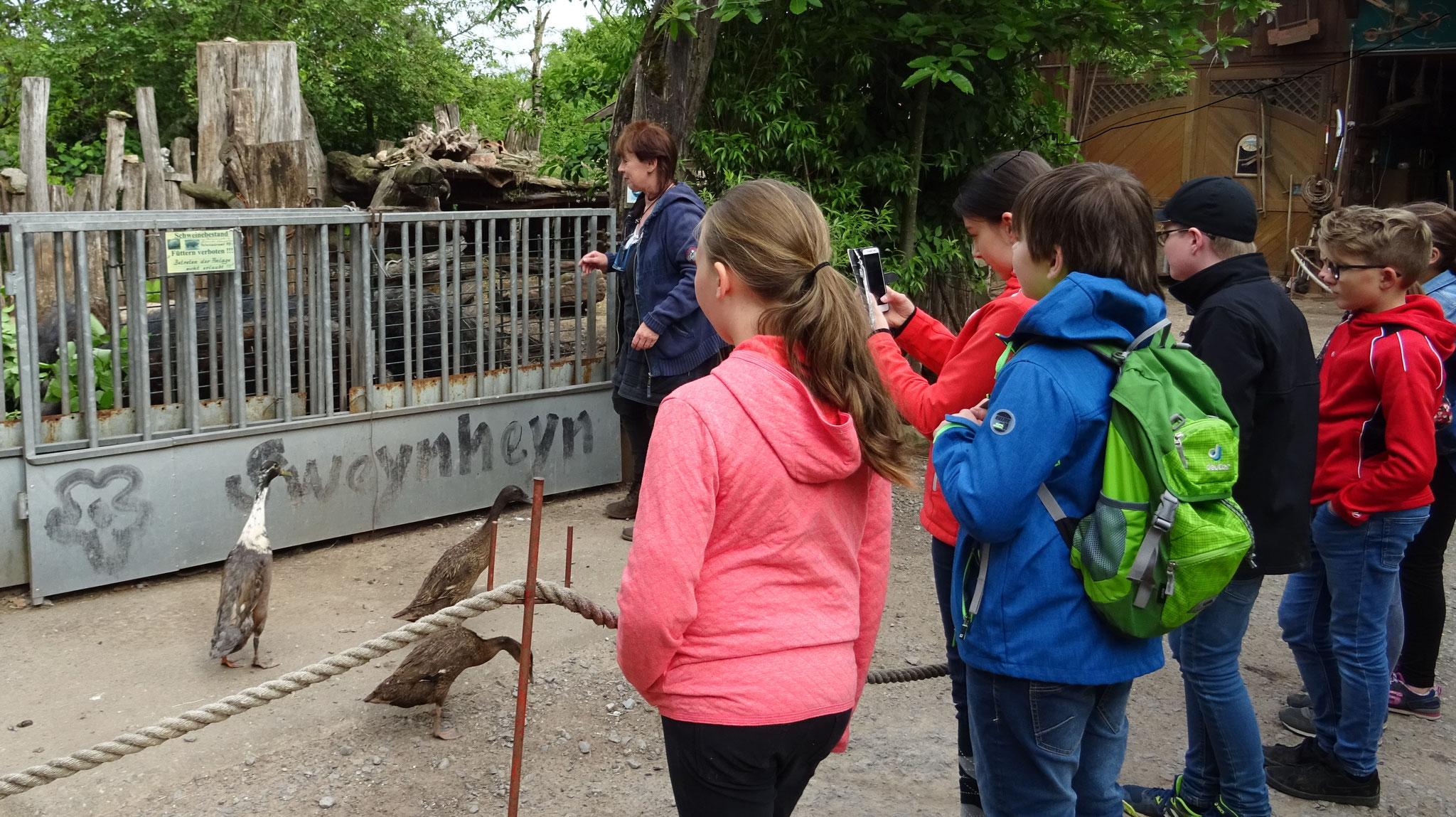 Beim Rundgang über den Hof stellt Christl Hock die verschiedenen Tiere vor
