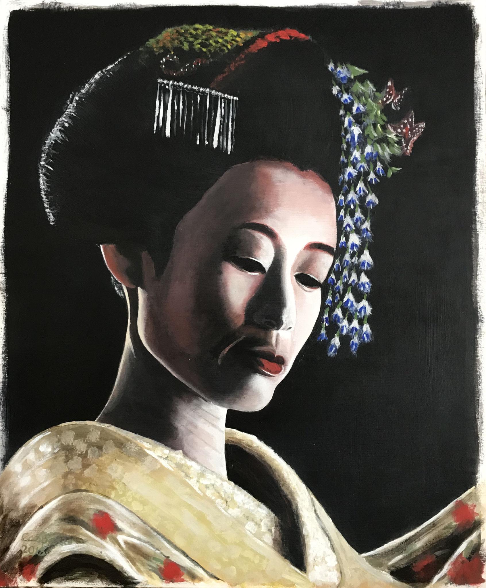 Geisha3, acryl op papier op paneel, A2 formaat.