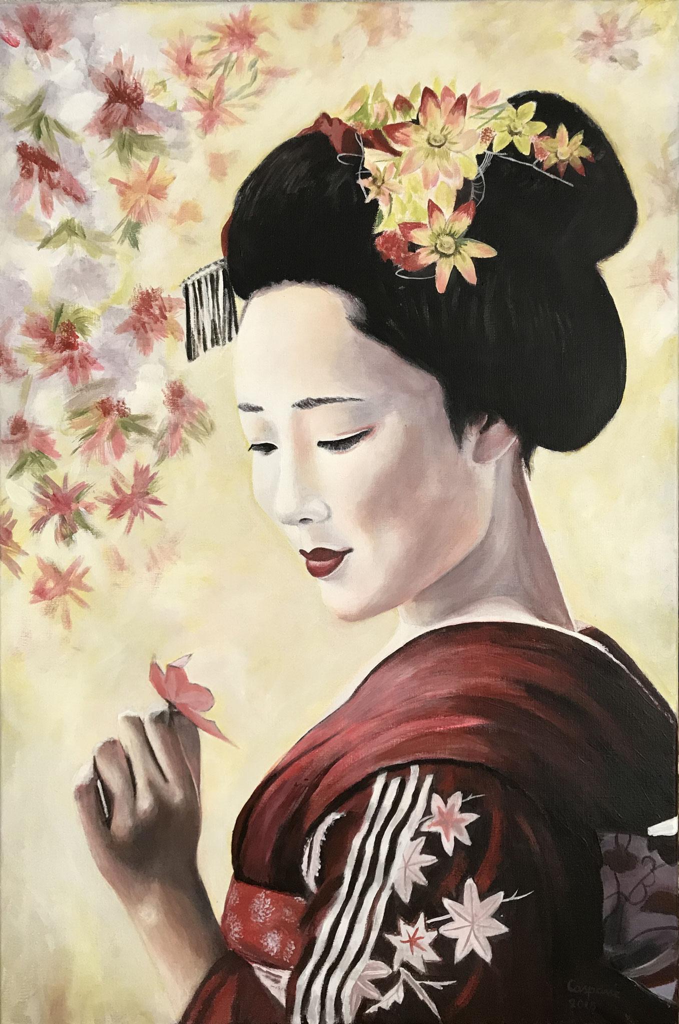 Geisha2, acryl op linnen, 60 x 90 cm.