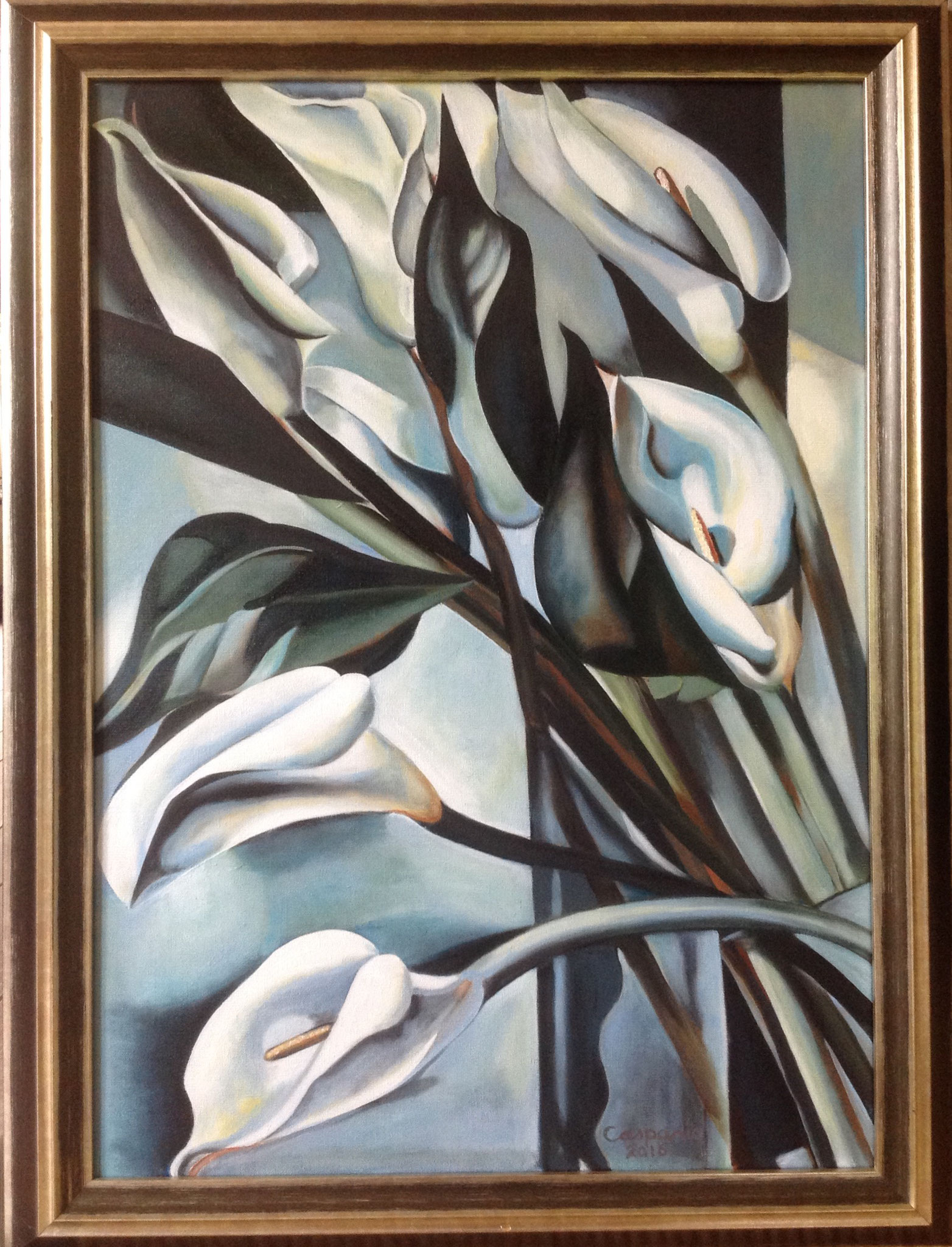 Calla Lillies 2, naar Tamara de Lempicka, olieverf op linnen, 50 x 70 cm.