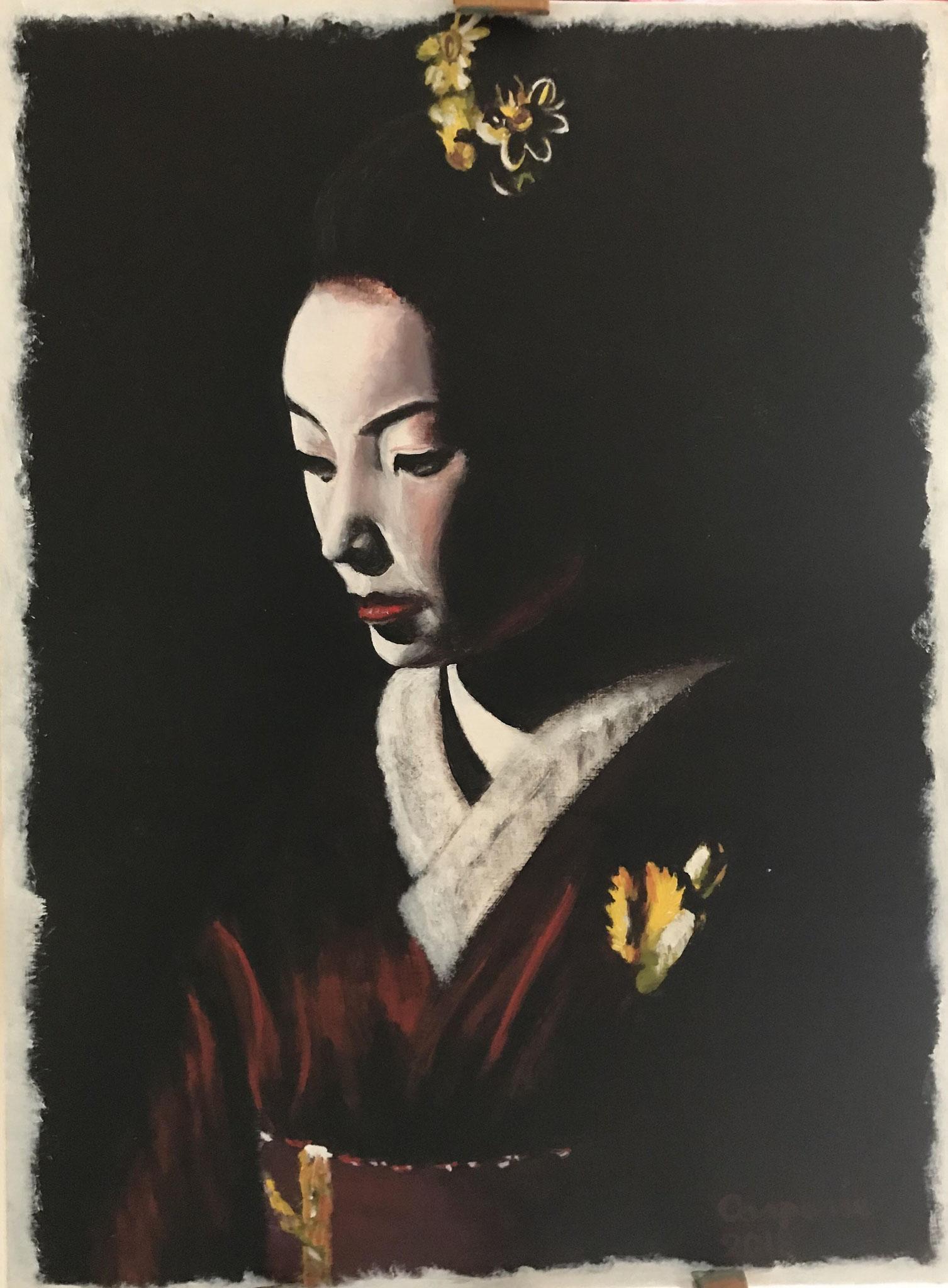 Geisha 1, acryl op papier op paneel, 50 x 60 cm.