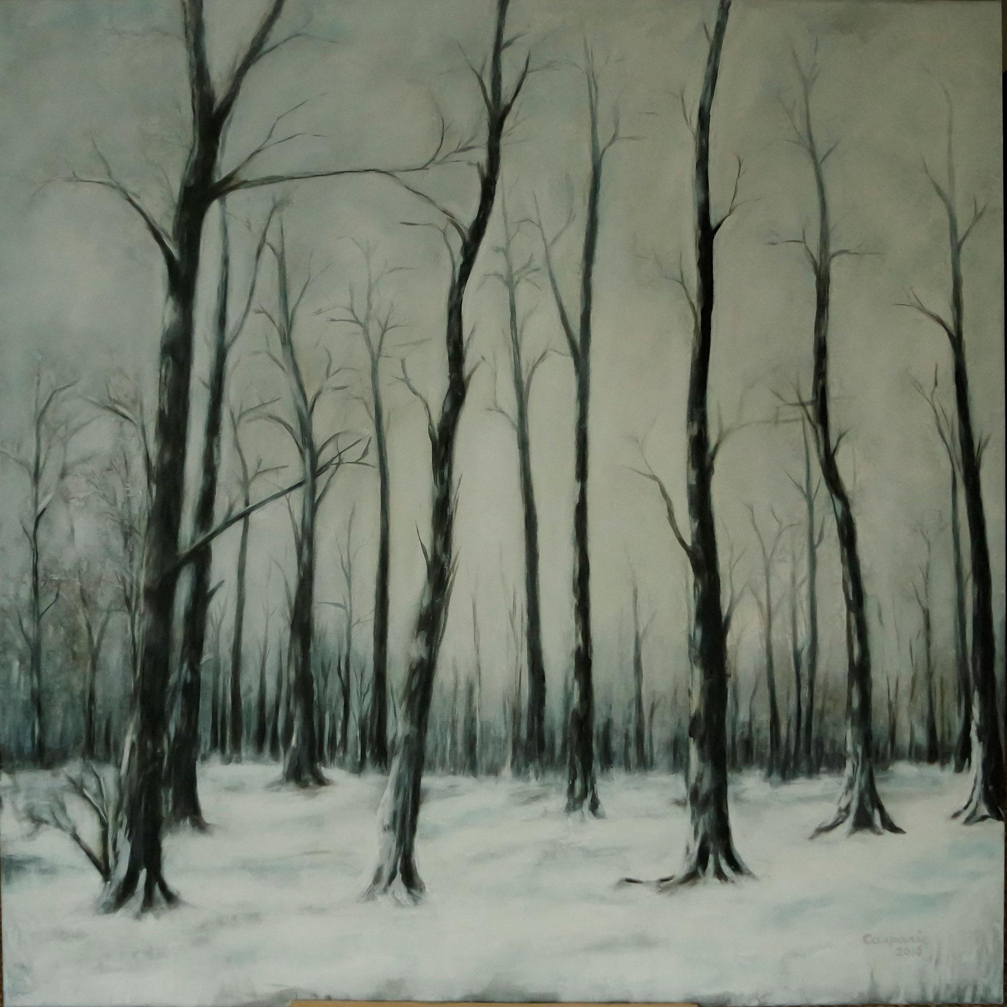 Bevroren bos, Acryl op linnen, 100 x 100 cm.