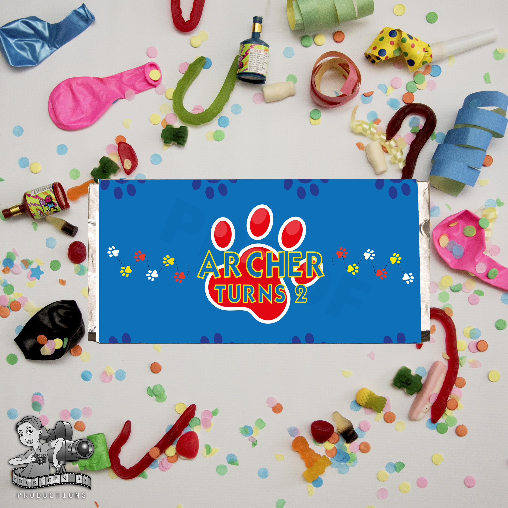 Paw Prints; Red, Blue & Yellow