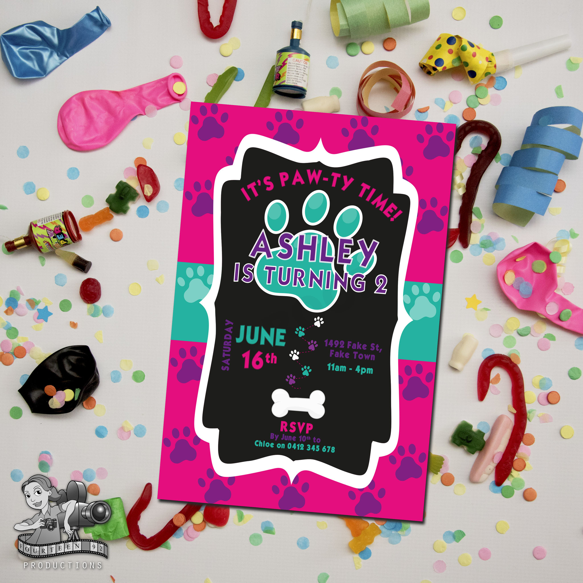Paw Prints; Pink, Purple & Aqua