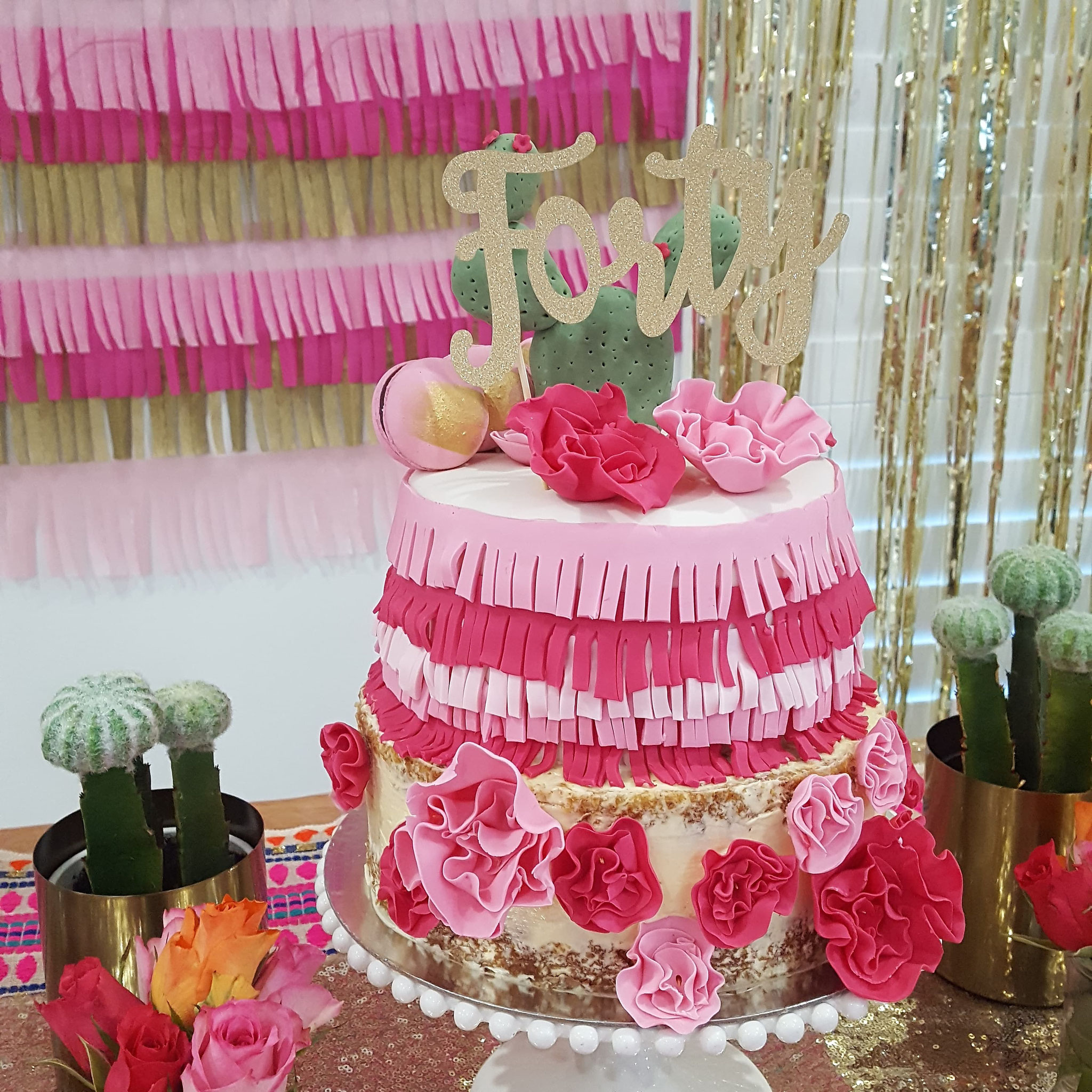 40 Gold Glitter Cake Topper
