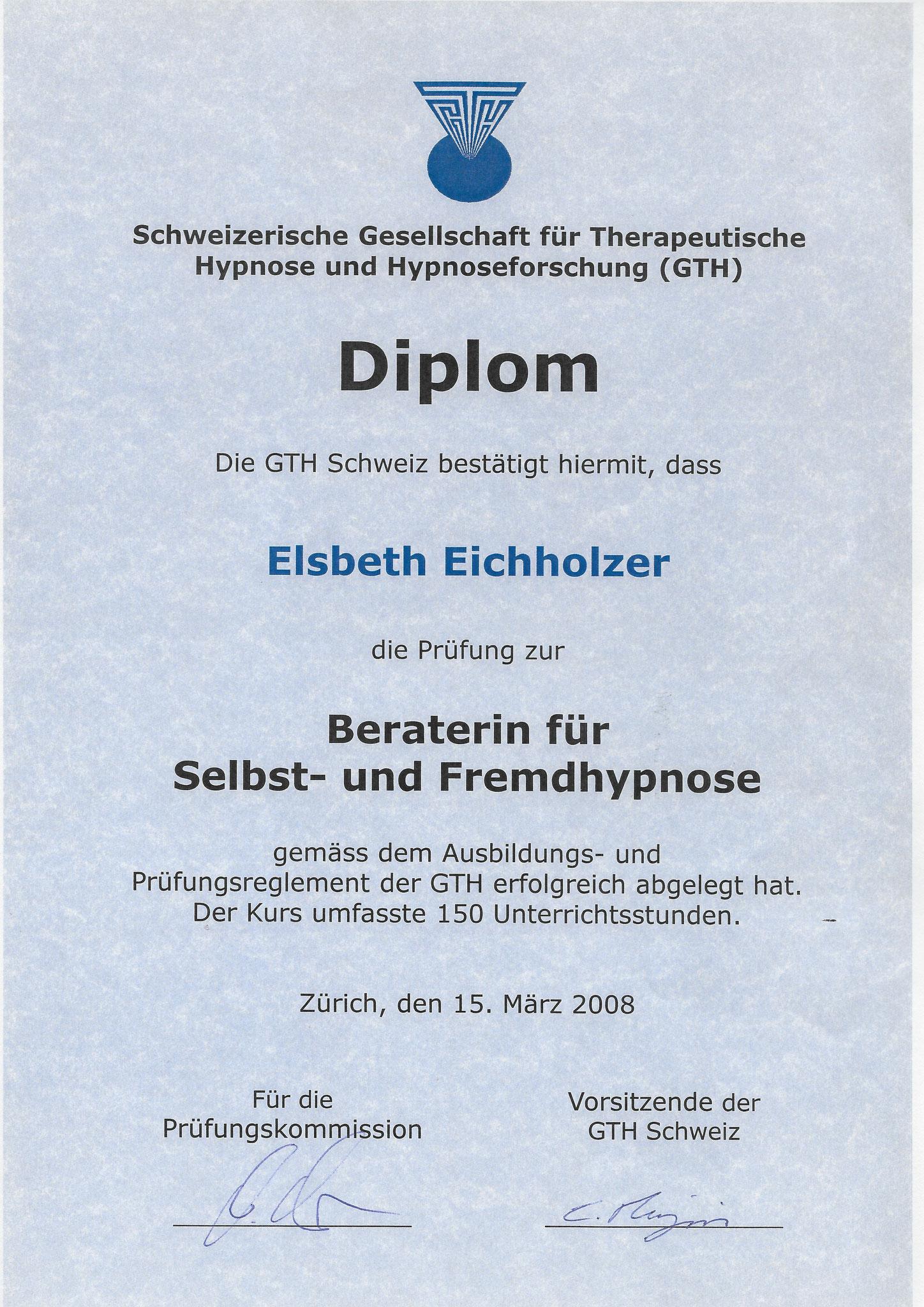 GTH-CH - Diplom in Selbst- & Fremdhypnose