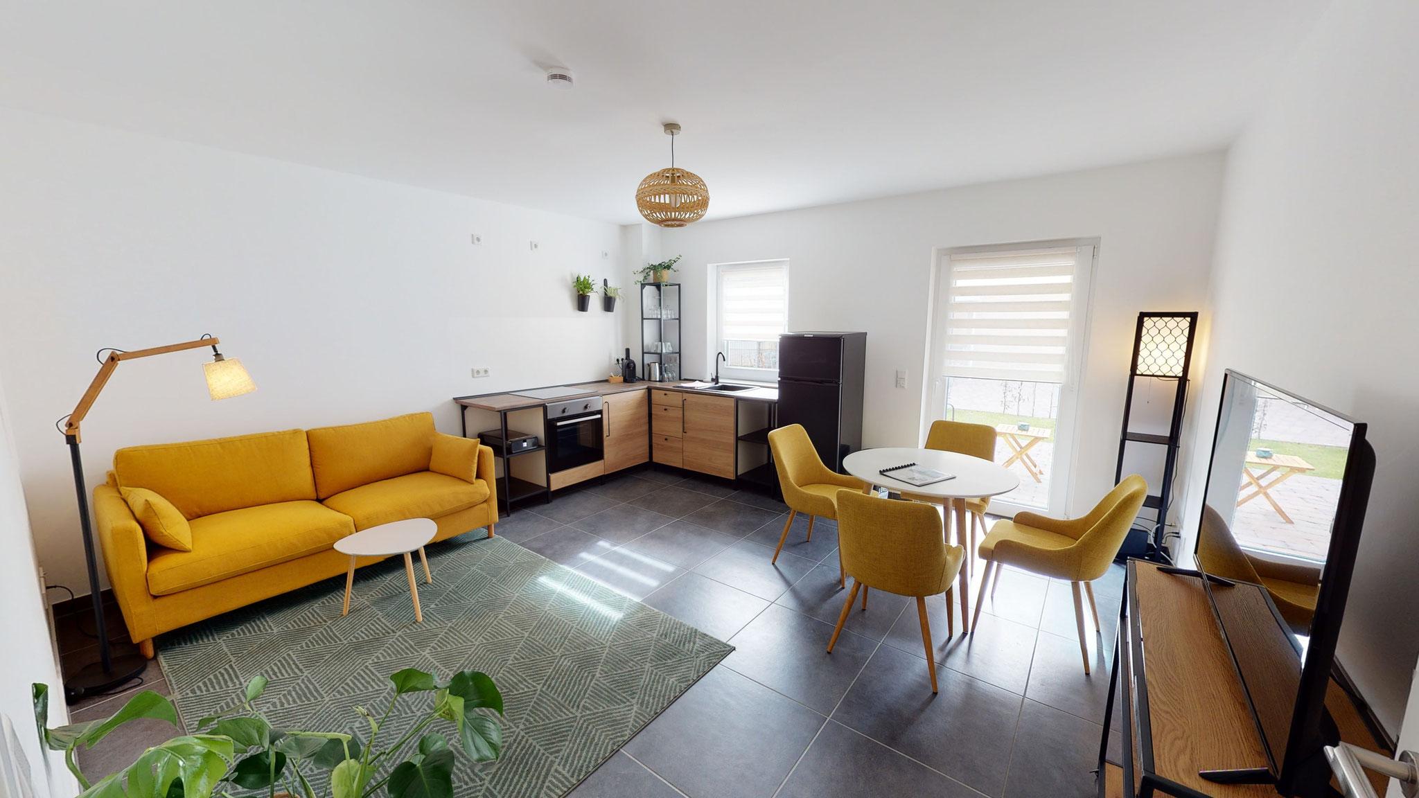 Wohnzimmer, Küchen- und Essbereich Apartment 3