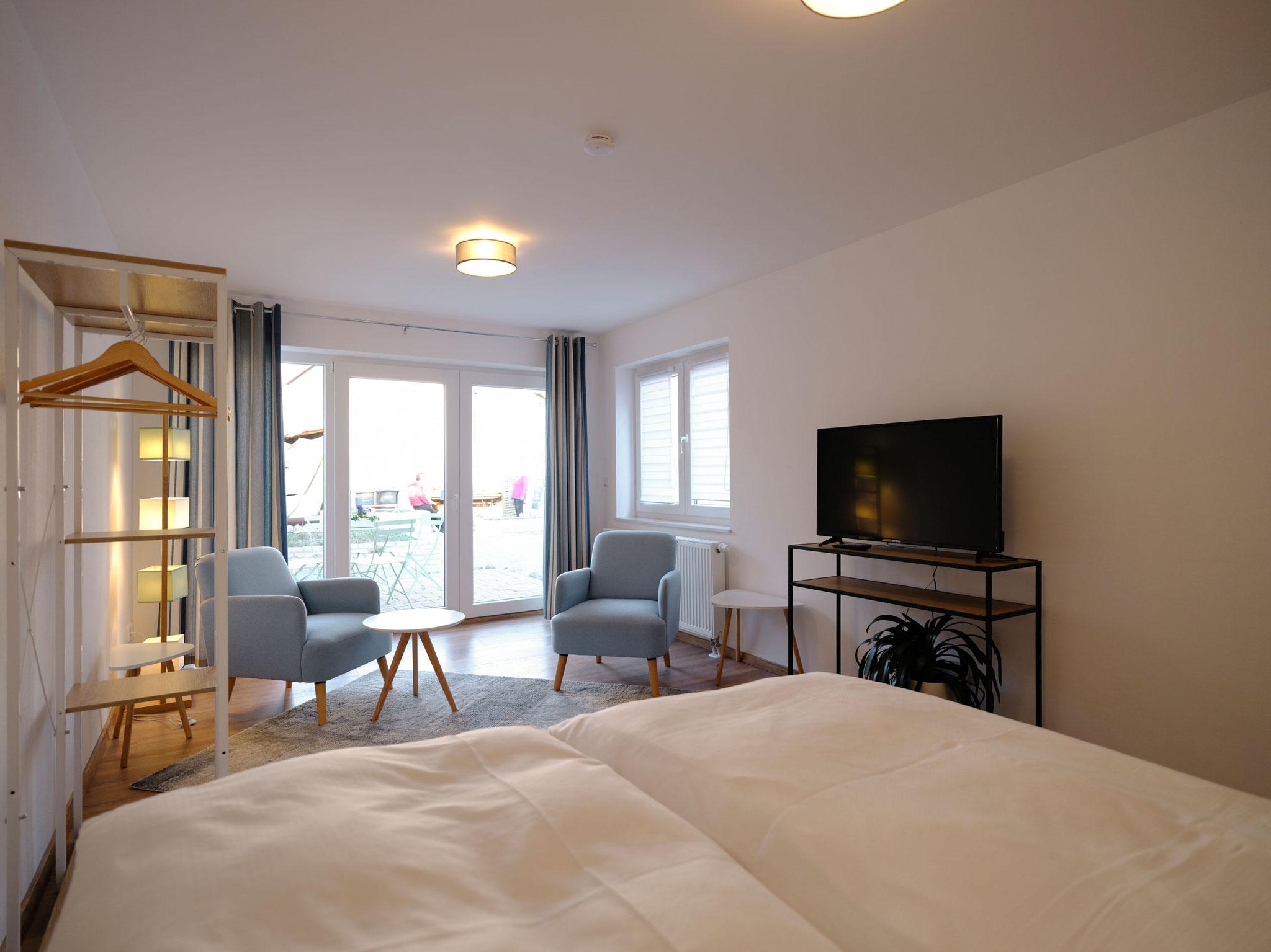 Wohn- und Schlafbereich Apartment 1 (EG)