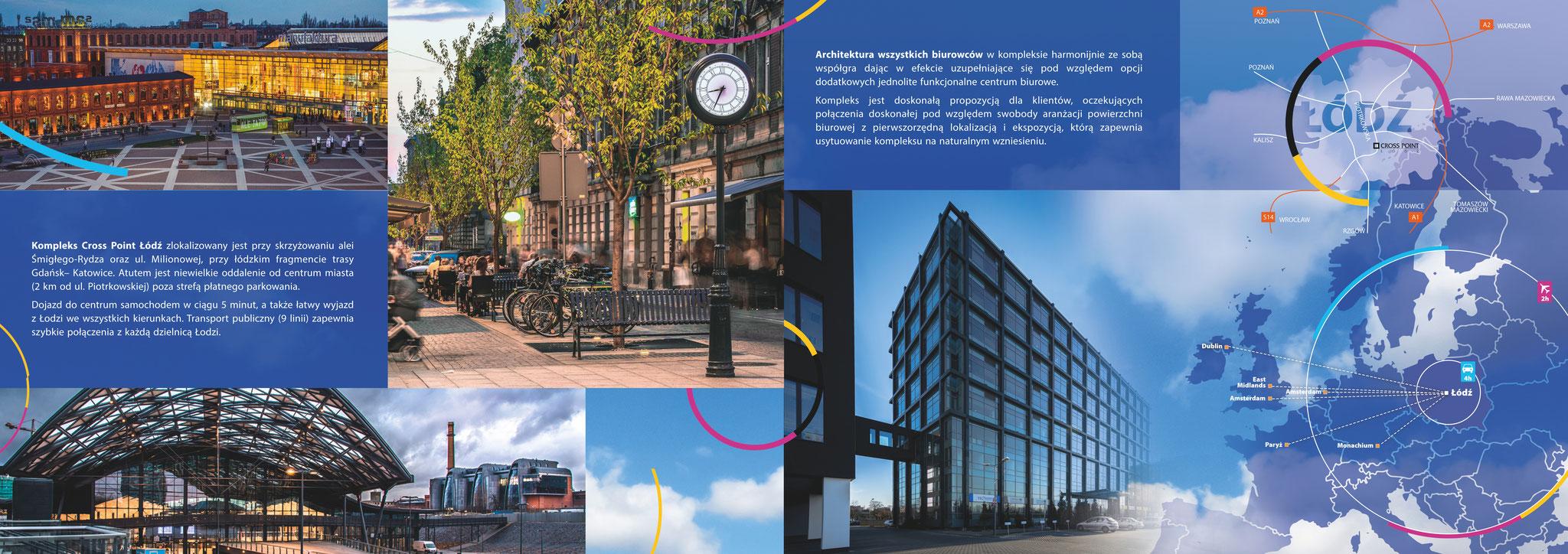 Fotografie Łodzi oraz fotografie biurowca wykorzystane w folderze reklamowym firmy Mermaid Properties