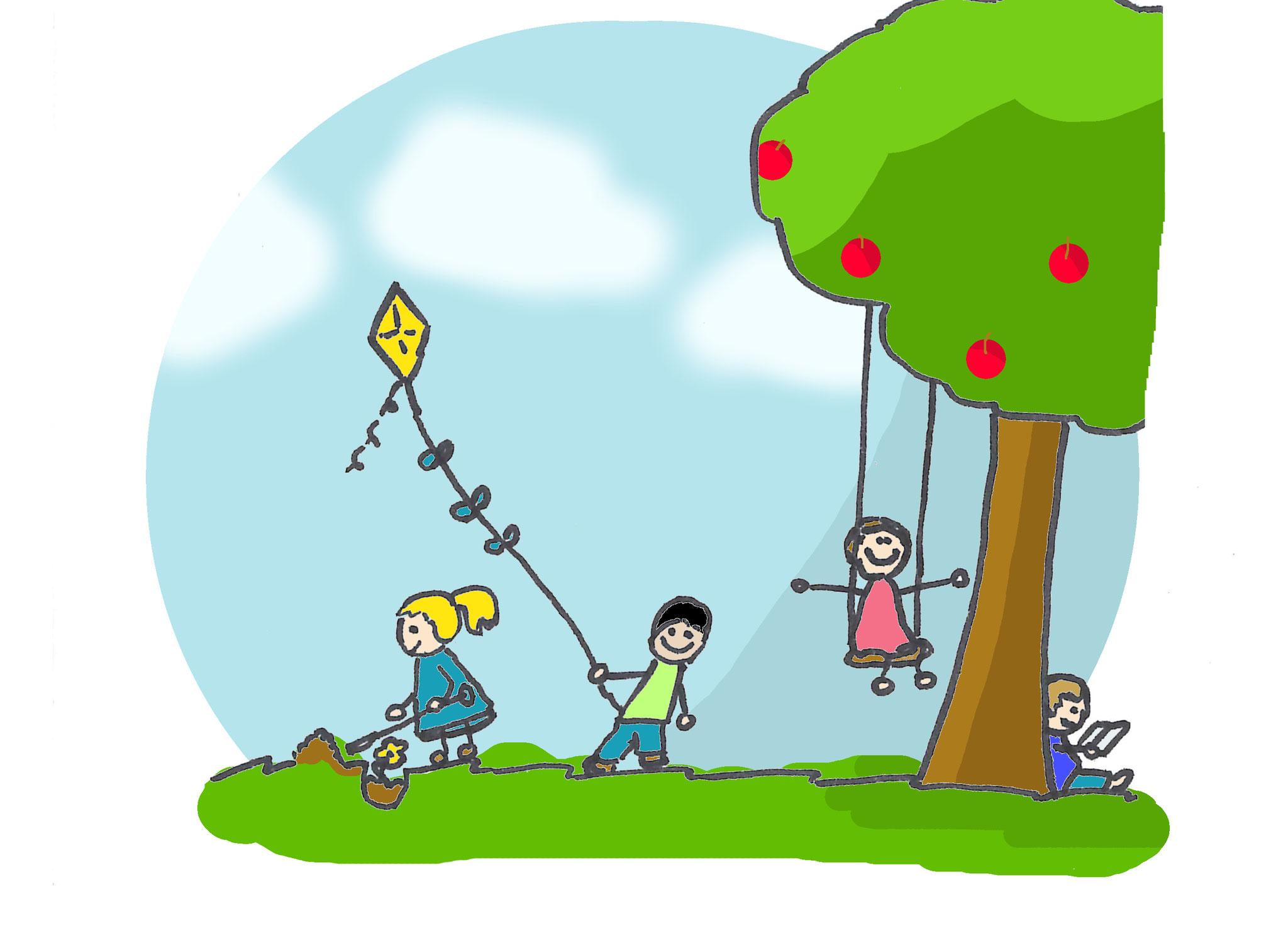 """6. Draußen-Spiele: Blinde Kuh, Himmel und Hölle hüpfen, Verstecken, Natur-Parcours, """"Ich sehe was, was du nicht siehst"""". Welches Kind kennt diese Spiele heute noch? Probiert es aus. Vielleicht haben auch Eltern und Großeltern Ideen."""