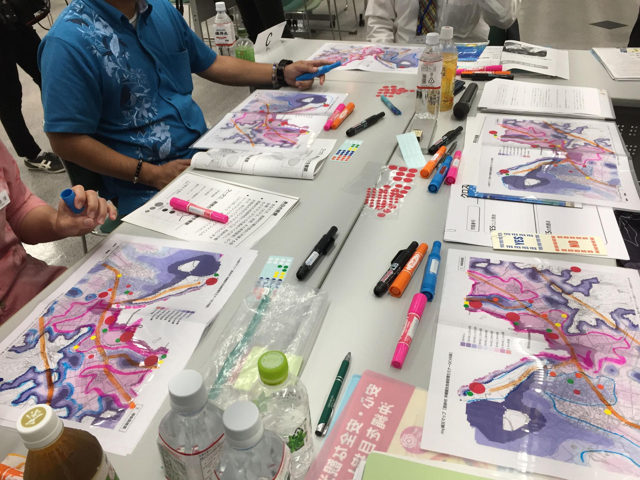沖縄観光防災計画に向けたmy減災マップ体験(津波範囲、地形と避難の関係の検討)