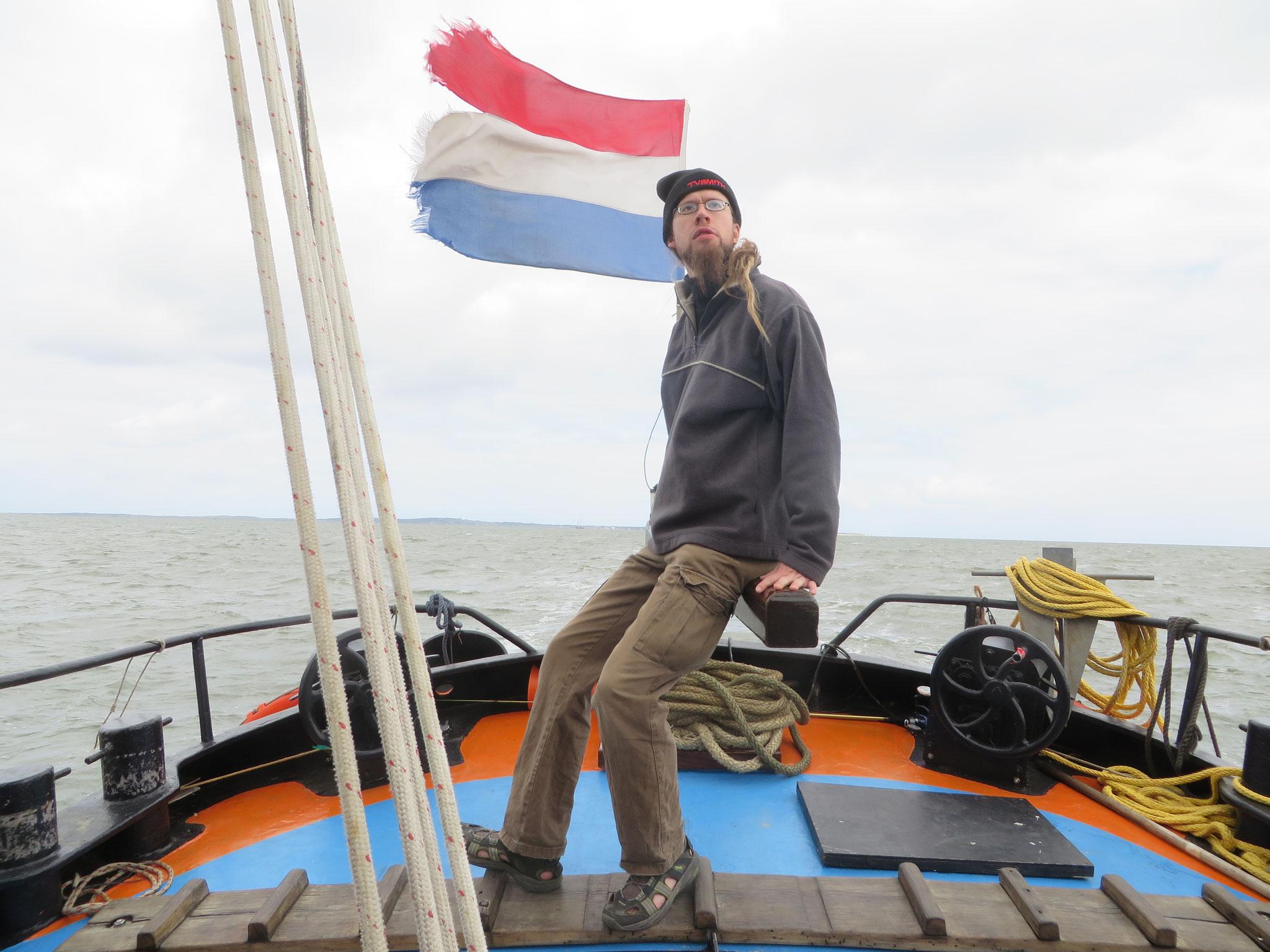 Auf dem Plattbodensegelschiff Ouderzorg im niederländischen Wattenmeer