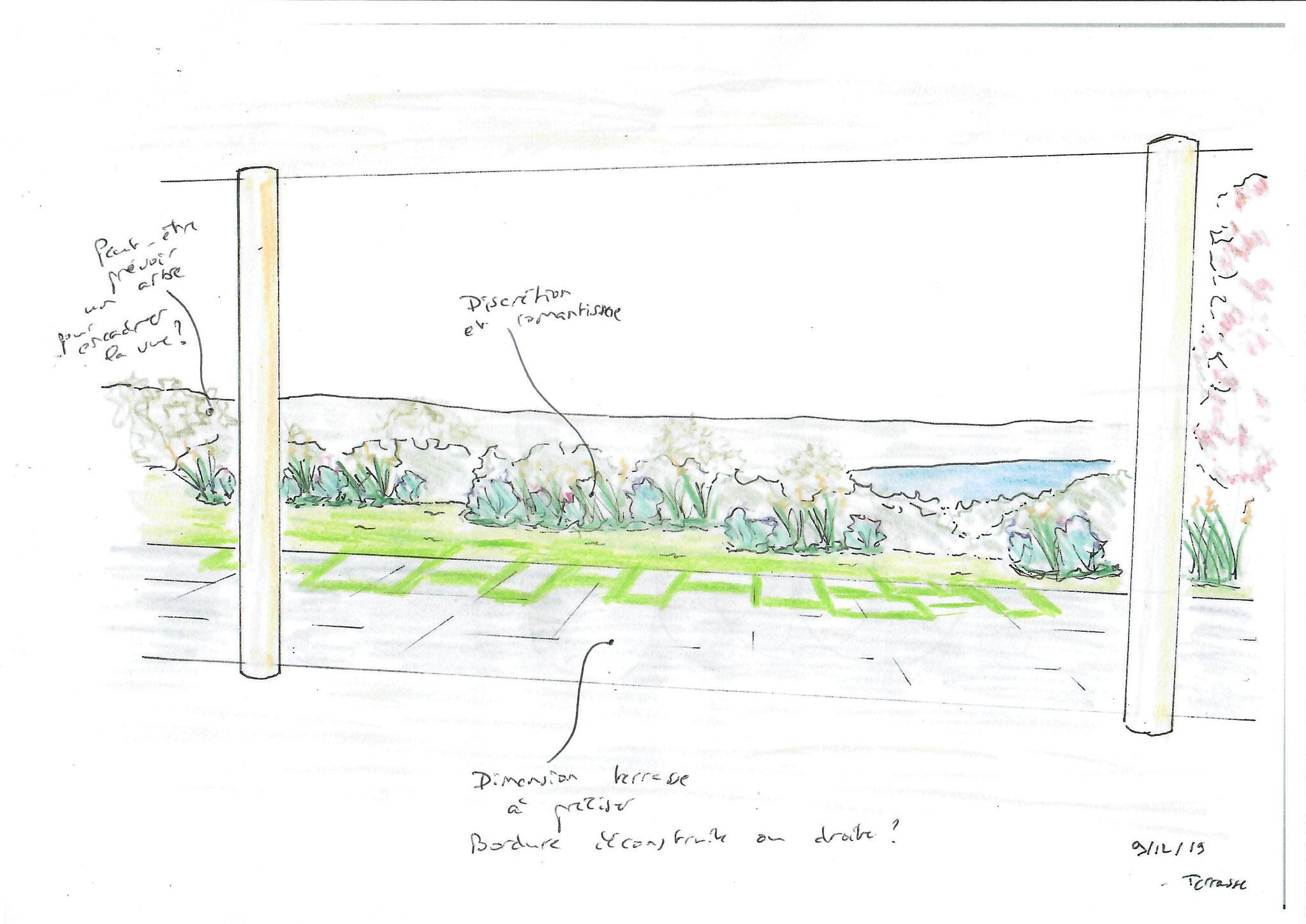 Croquis d'étude : terrasse - @Sandrine Tellier