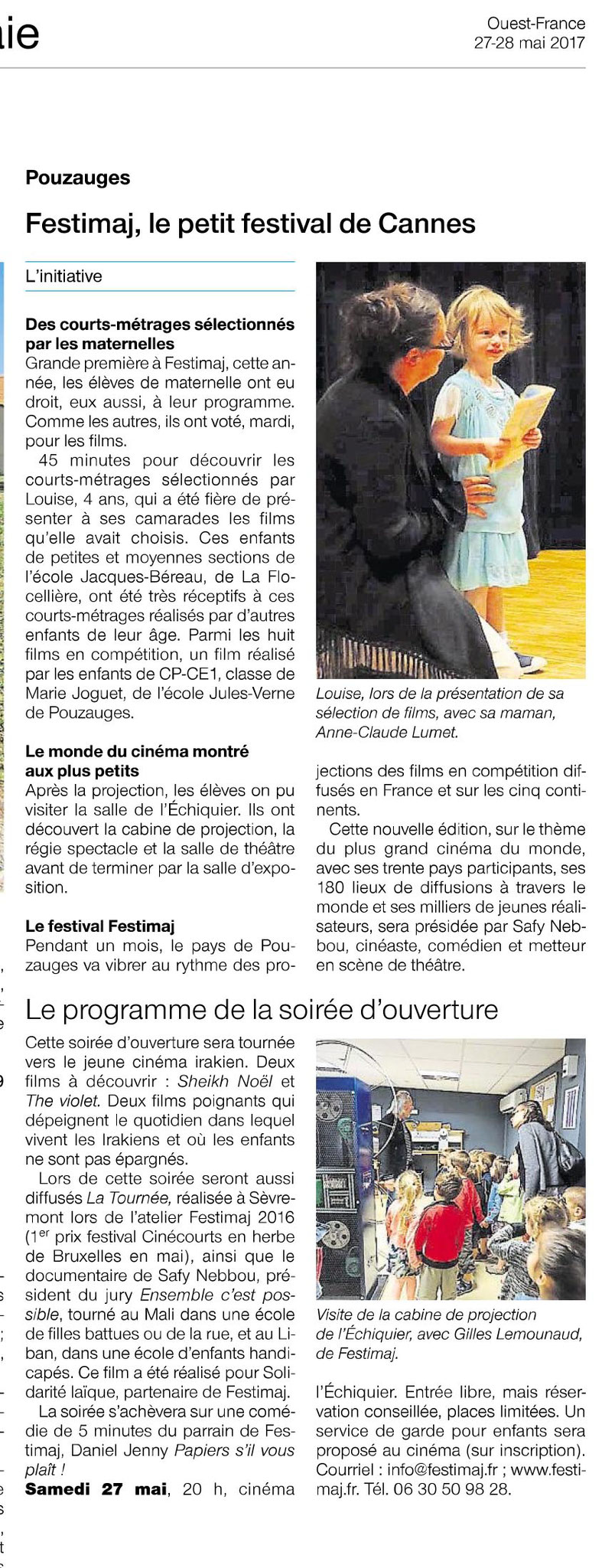 Article Ouest-France Festimaj 27 mai