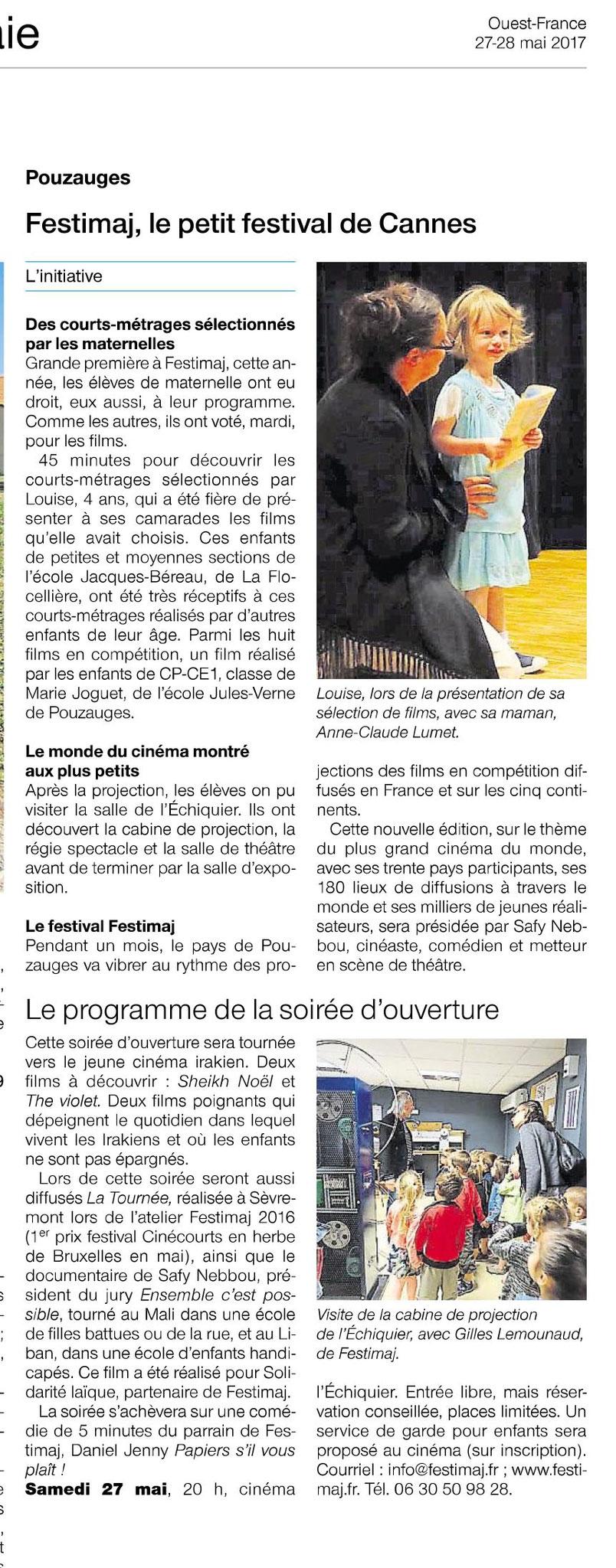 Article Ouest-France Festimaj 27 mai