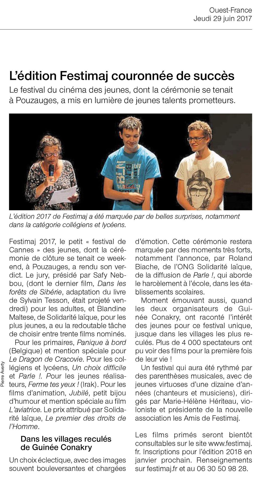 Clôture Festimaj 2017 Ouest-France page Vendée