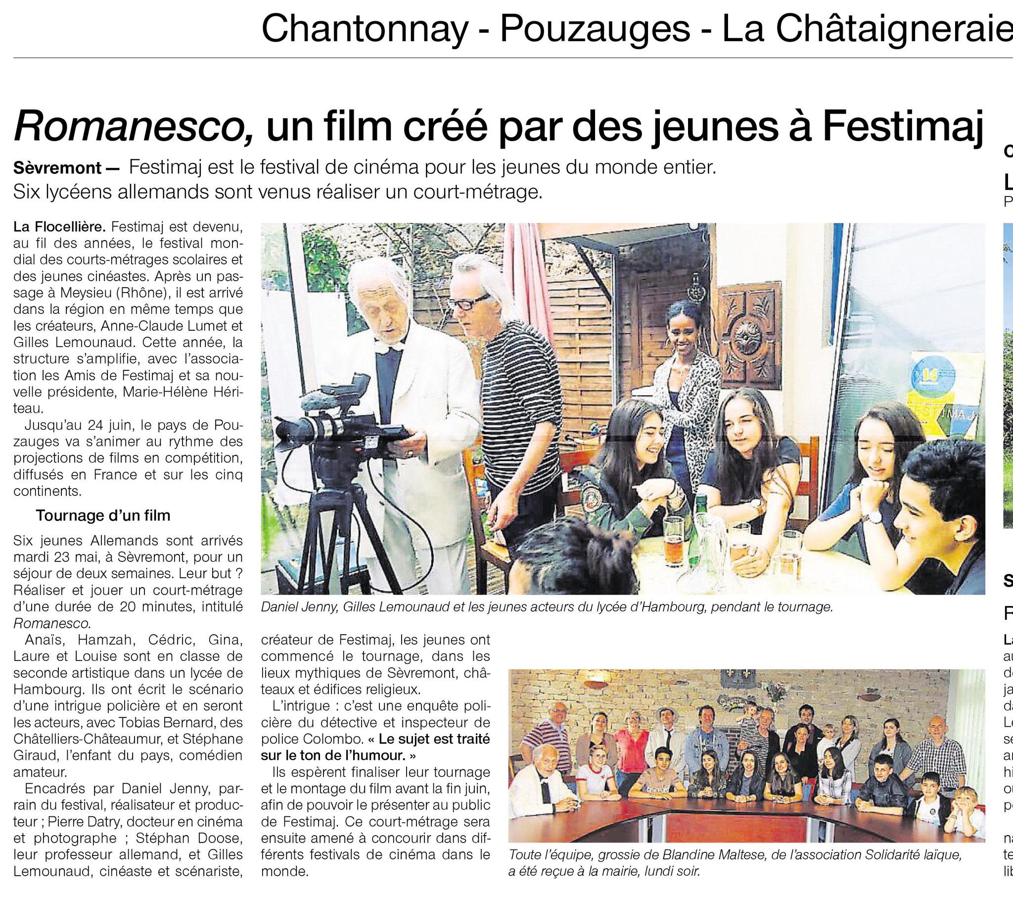 Article Ouest-France 3 juin sur le tournage du film Festimaj