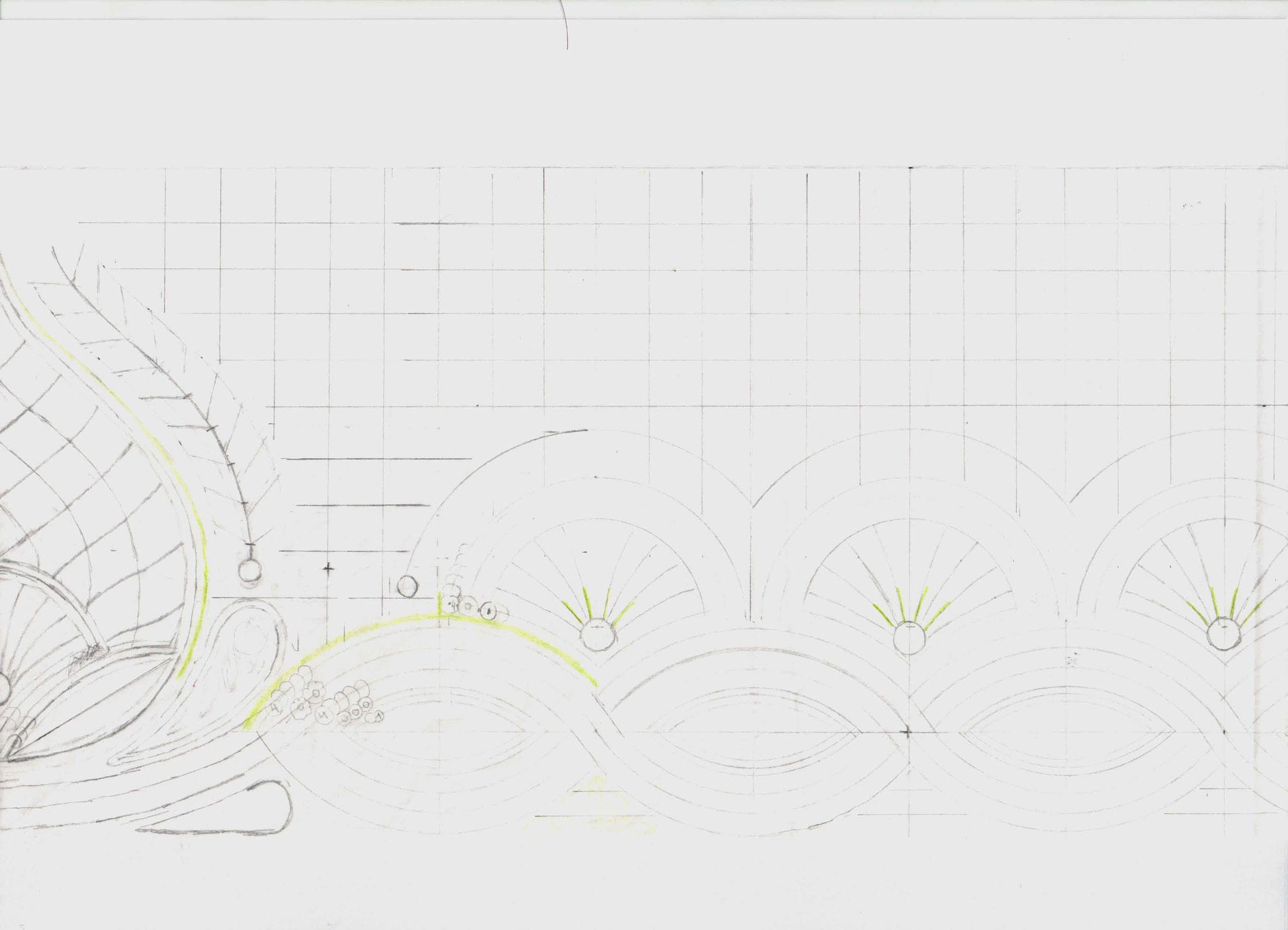 Der erste Mustersatz zeigt nur die Hälfte des Musters. Es wird später auf Seidenpapier übertragen und gespiegelt und verlängert