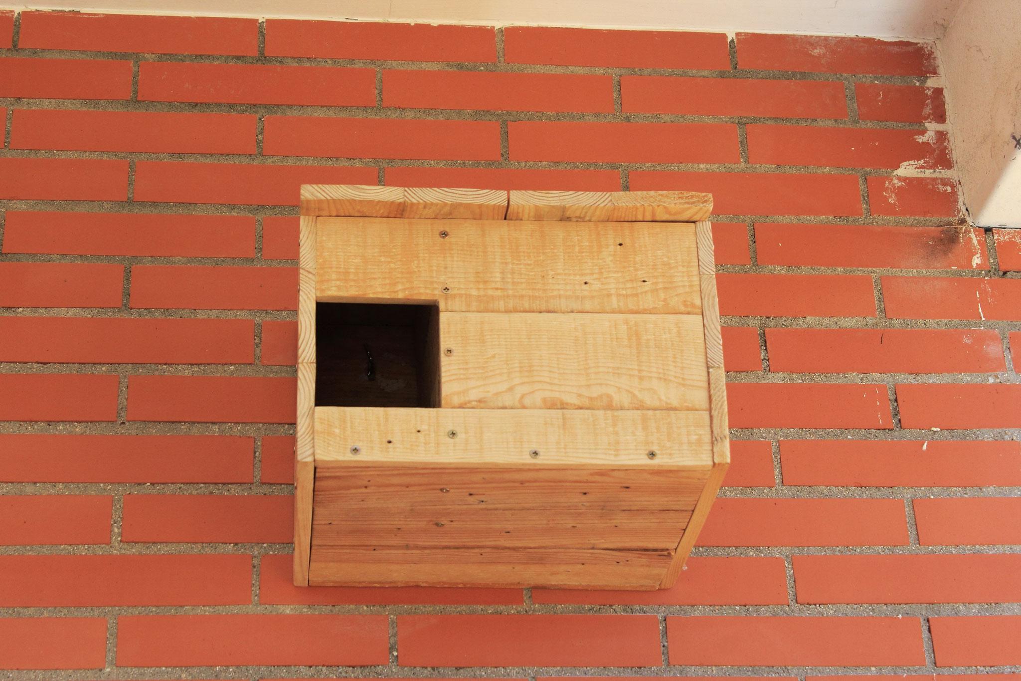 Vista frontal. Caja nido de mochuelo instalada en el IES Fernando Fernán Gomez (Humanes de Madrid)