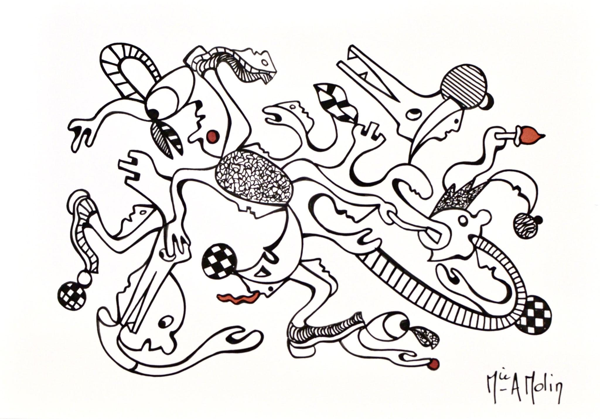 """""""Absurdie"""" - Marqueur peinture sur papier - format 21X29,7cm"""