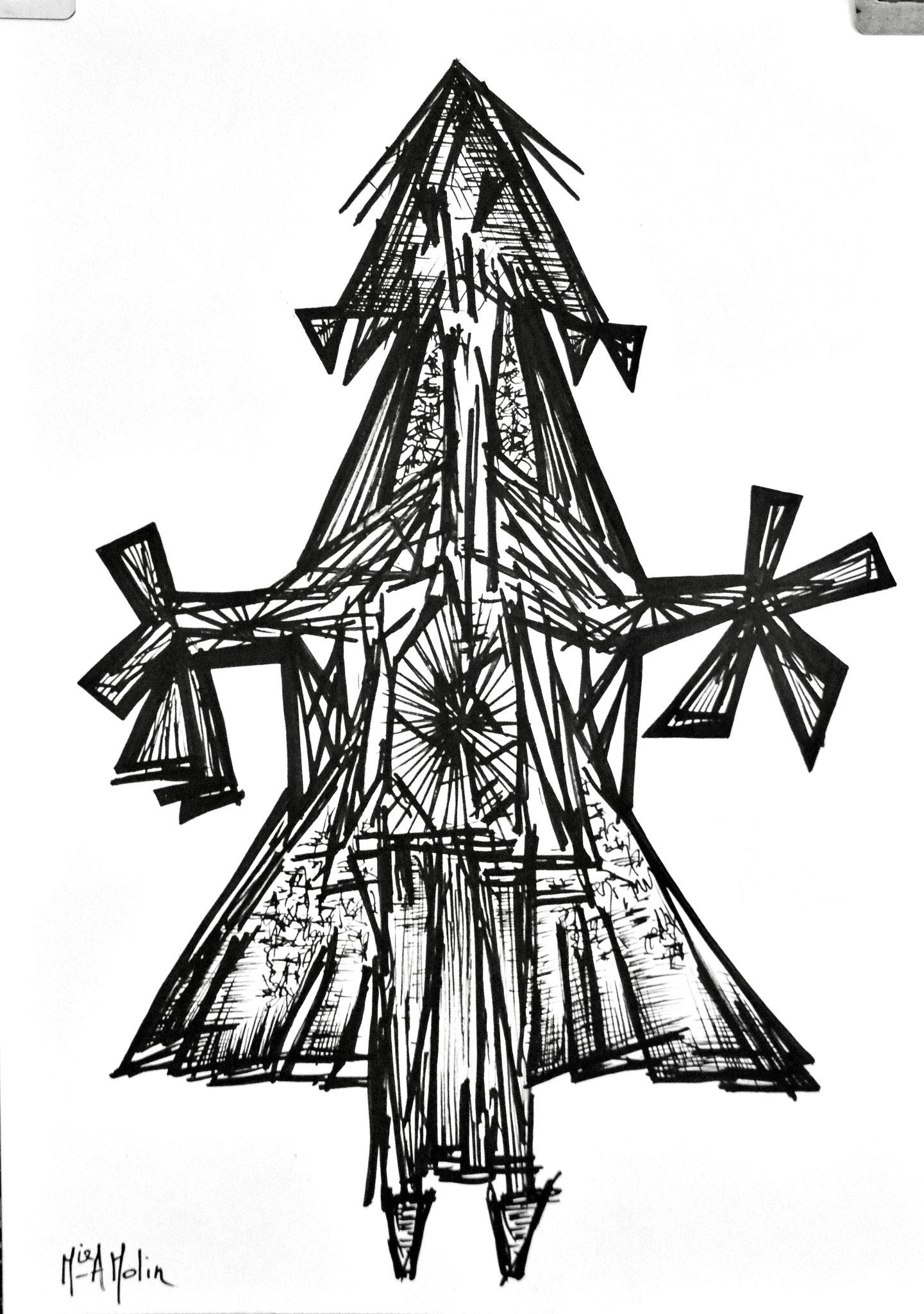 Marqueur acrylique sur papier - Format 42X29,7 cm